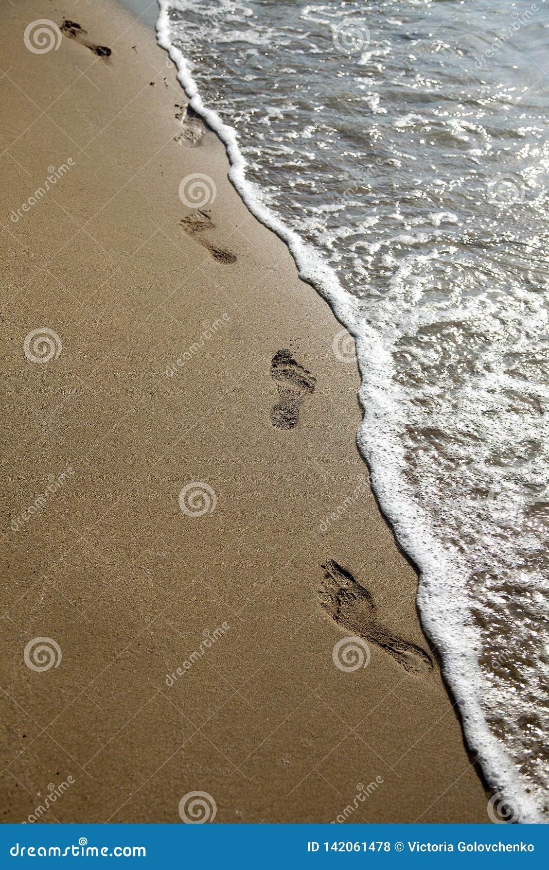 Voetafdruk op zand met overzees, verticaal formaat