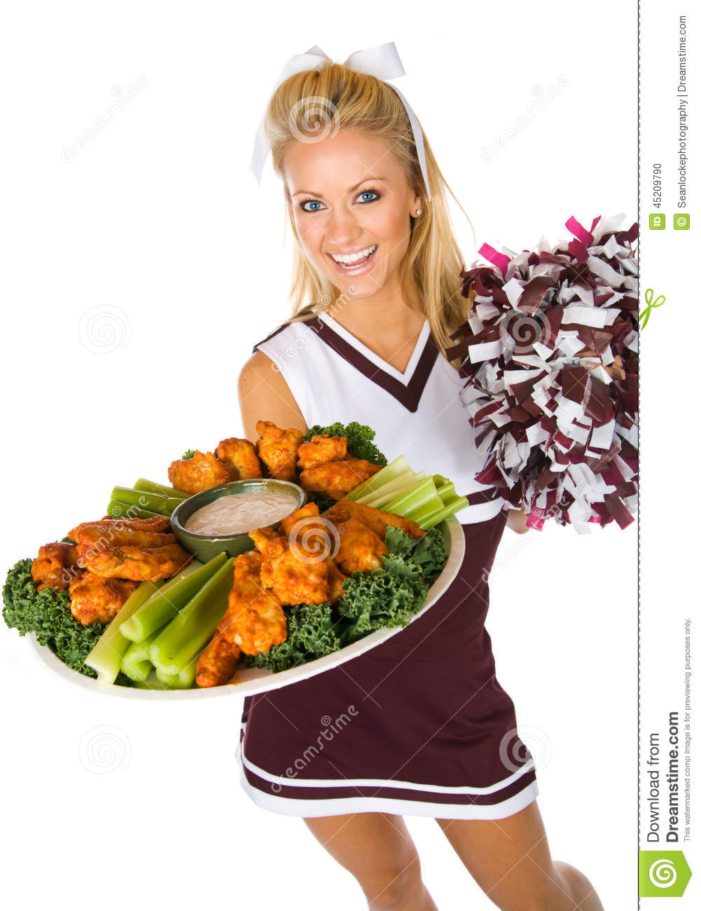 Voetbal: Cheerleader Holding Tray Of Chicken Wings