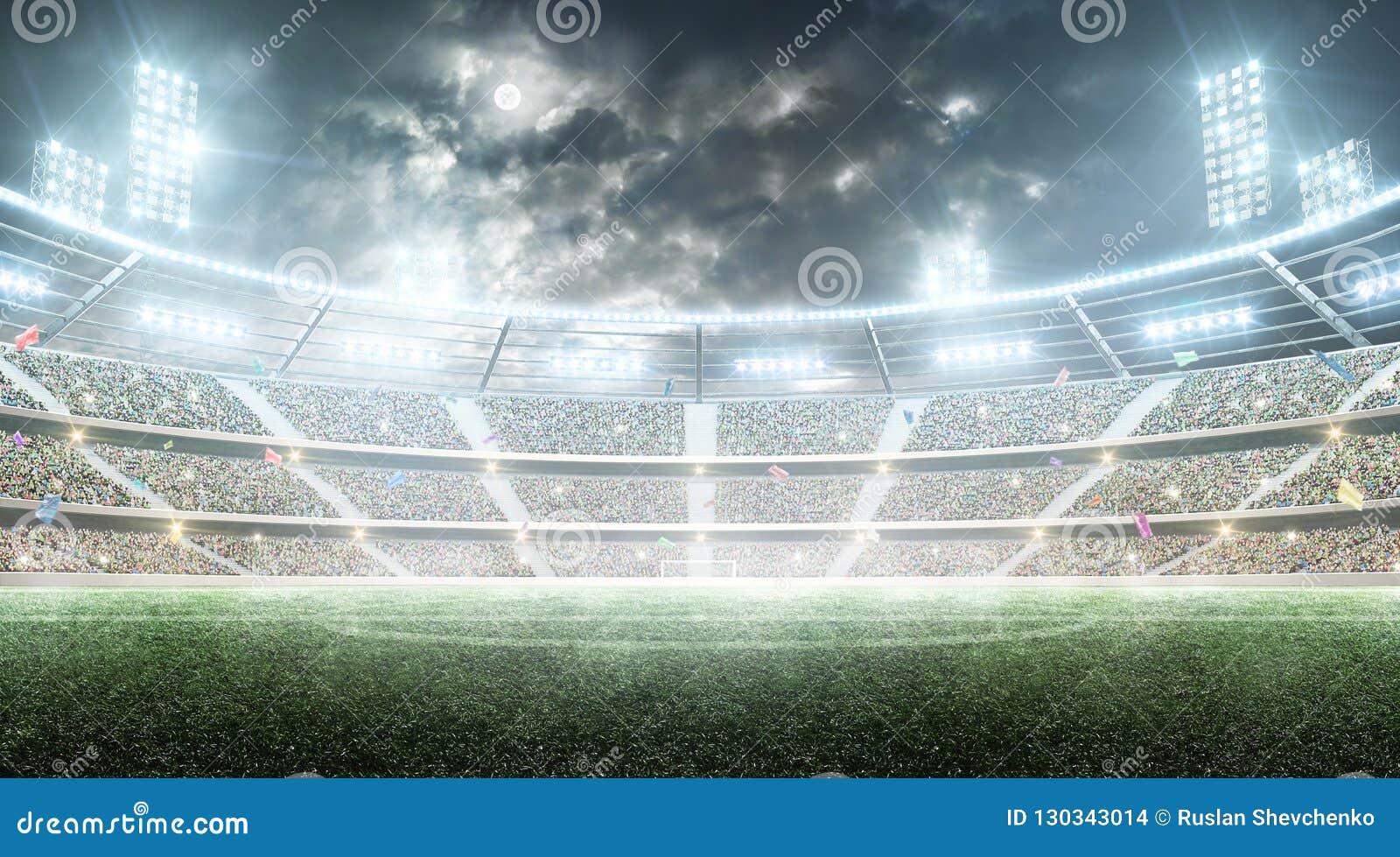 Voetbal stadium Professionele sportarena Nachtstadion onder de maan met lichten, ventilators en vlaggen Achtergrond