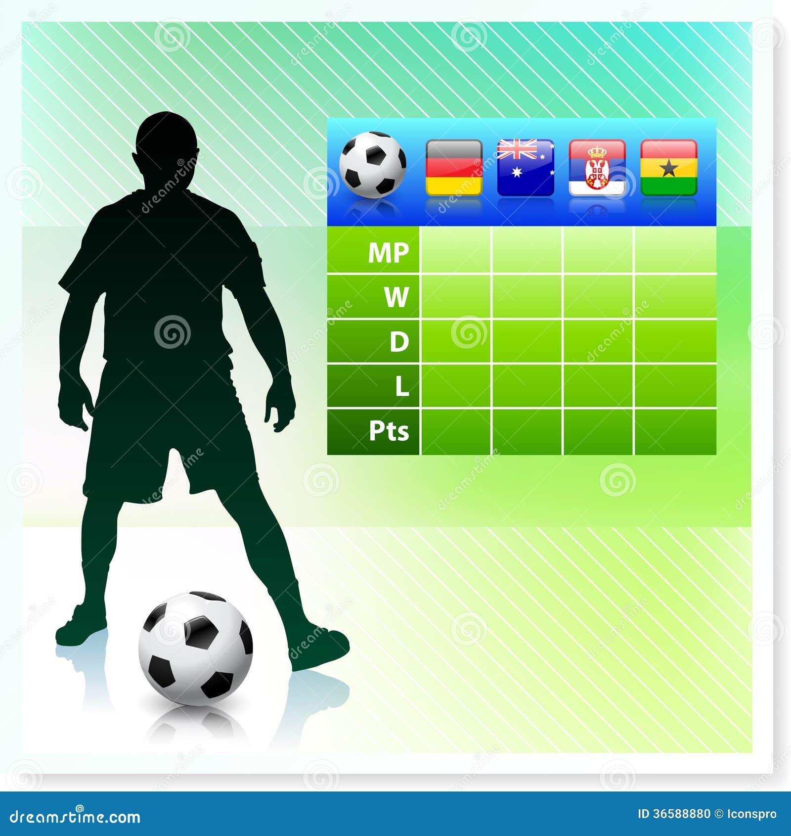 Voetbal/Voetbalgroep D op Vectorachtergrond