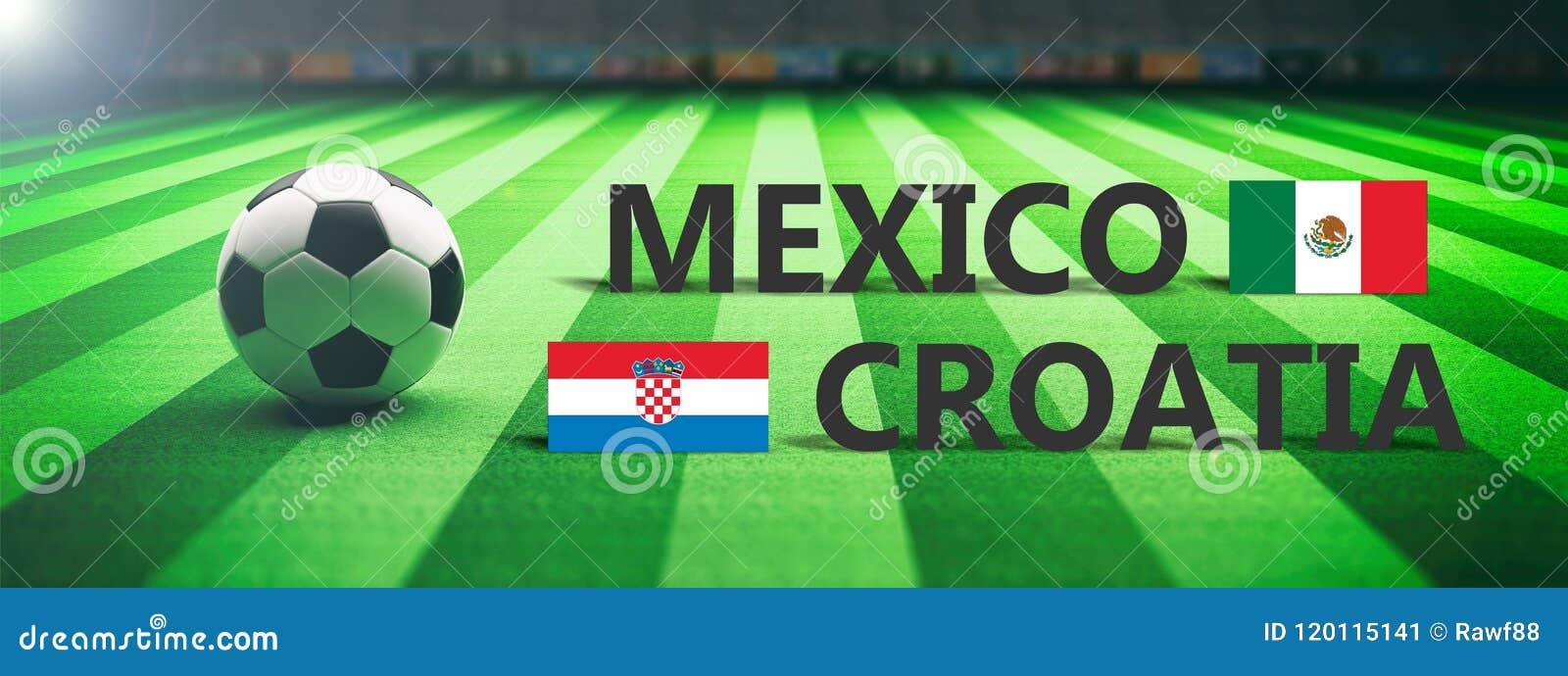 Voetbal, voetbalwedstrijd, Mexico versus Kroatië, 3d illustratie