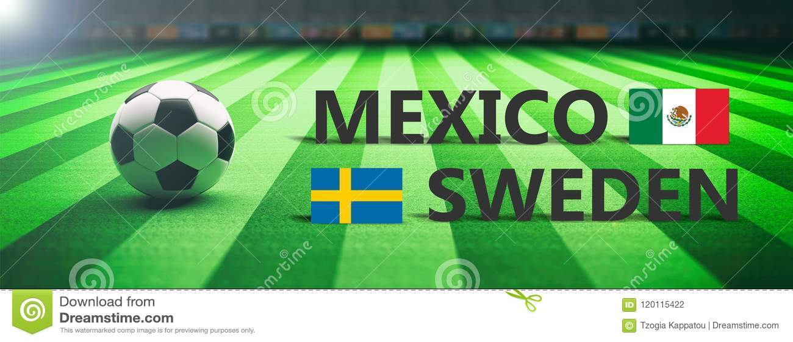 Voetbal, voetbalwedstrijd, Mexico versus Zweden, 3d illustratie