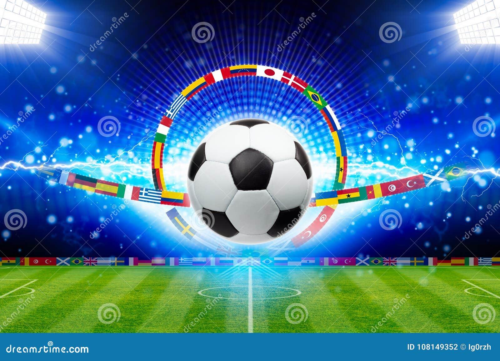 Voetbalbal boven groen stadion met heldere schijnwerpers, hoofdspo