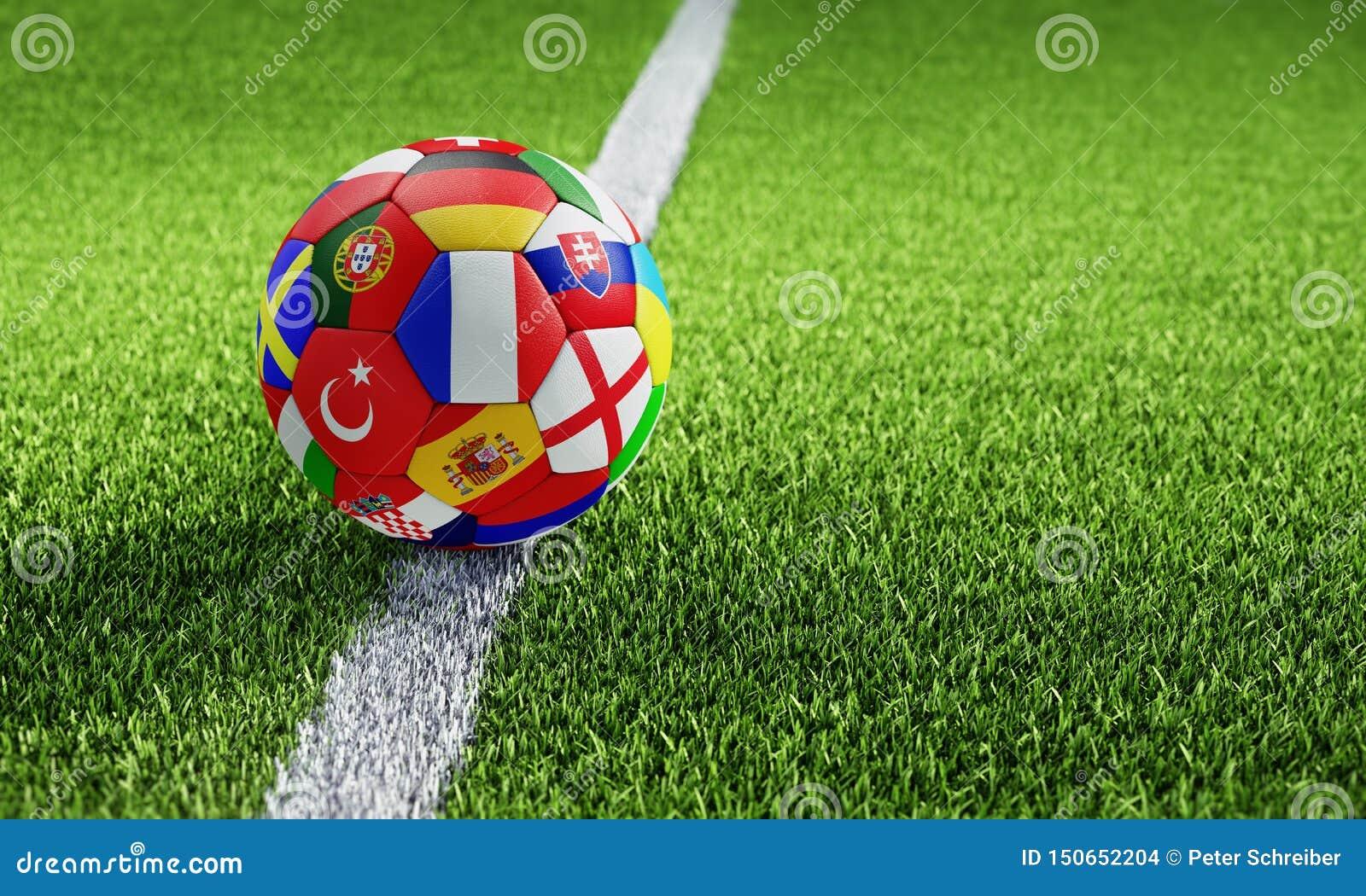 Voetbalbal geweven met Europese natievlaggen