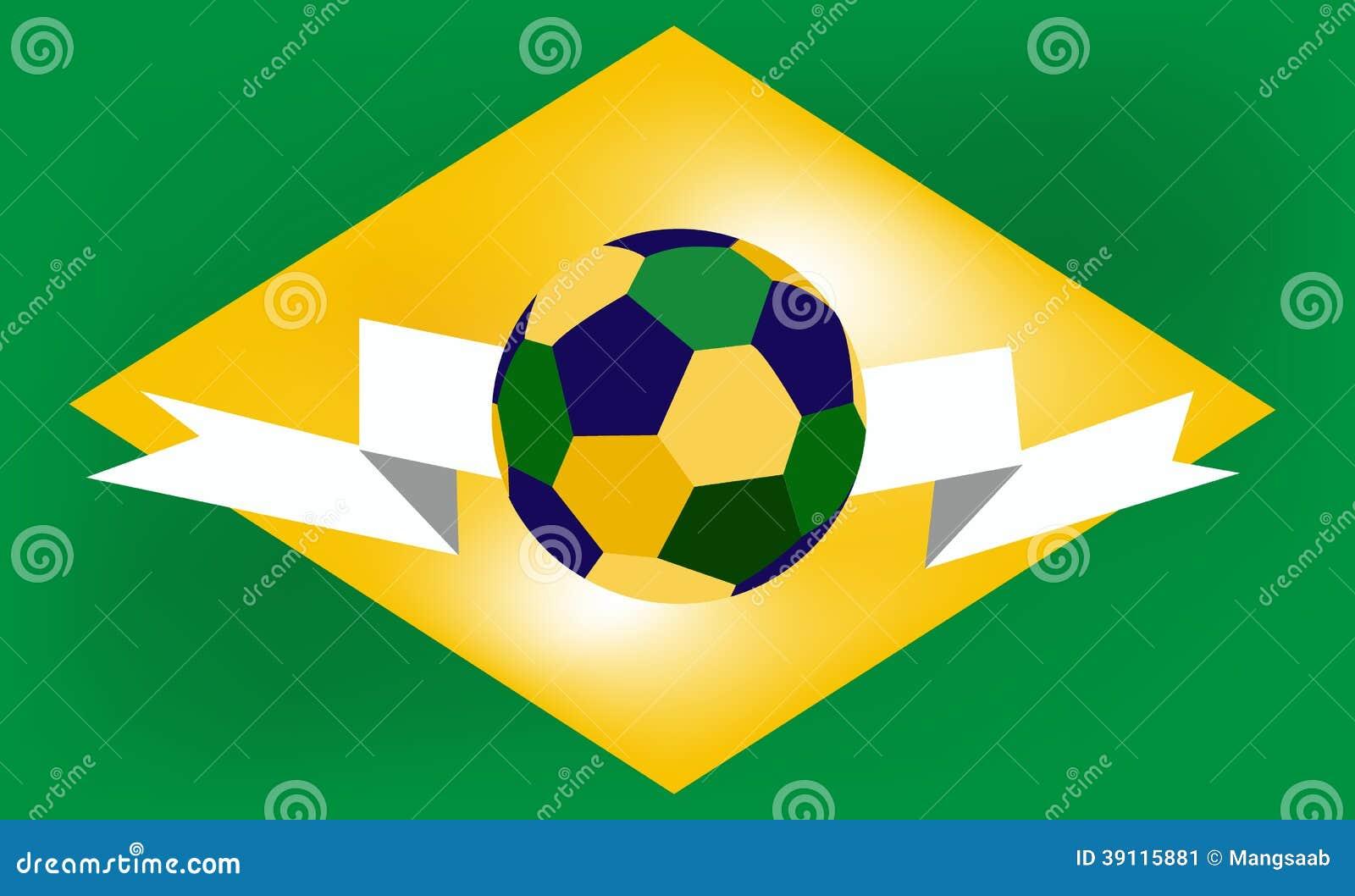 Voetbalbal in het centrum van de vlag van Brazilië