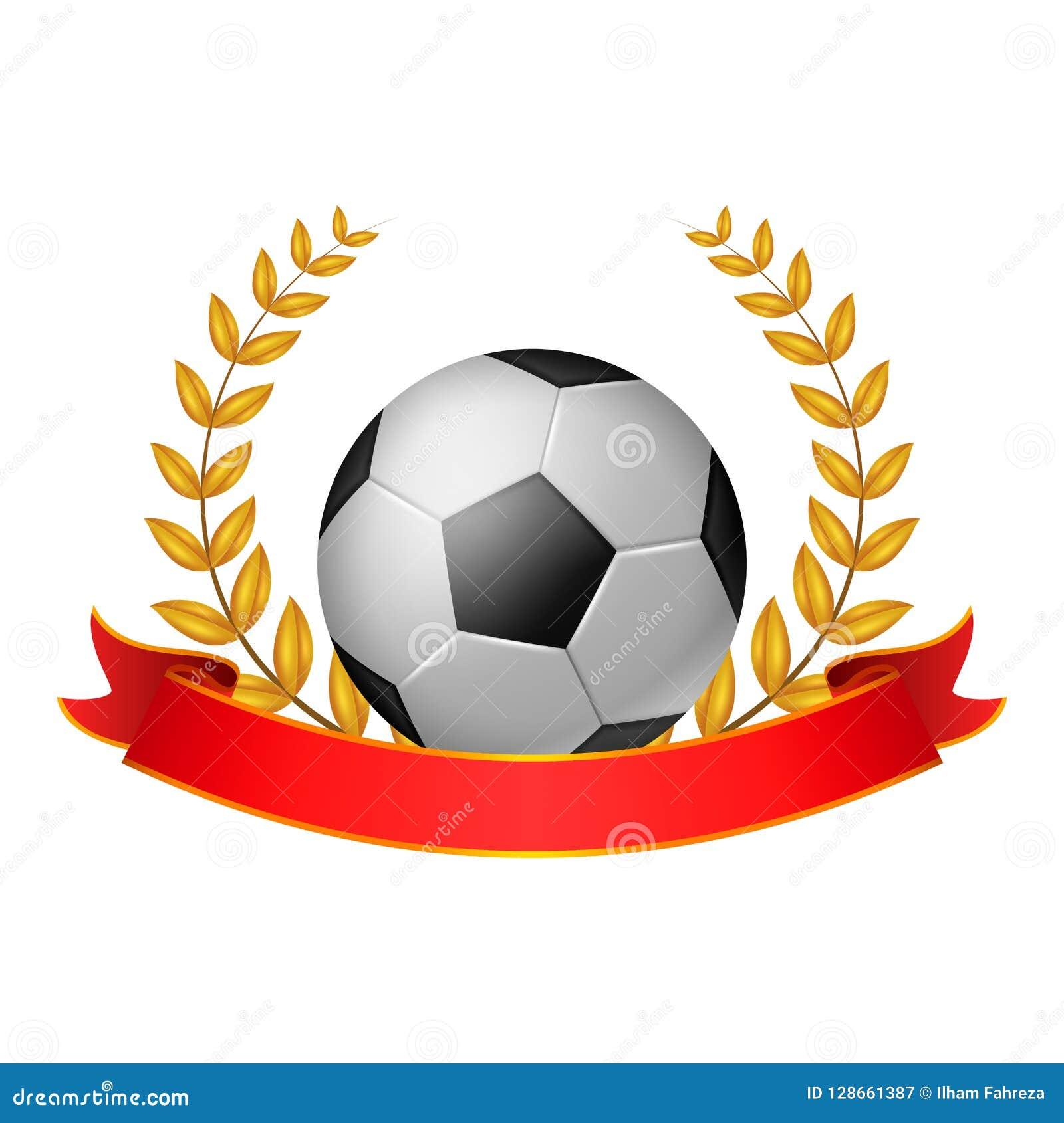 Voetbalbal Laurel Wreath met rood lint