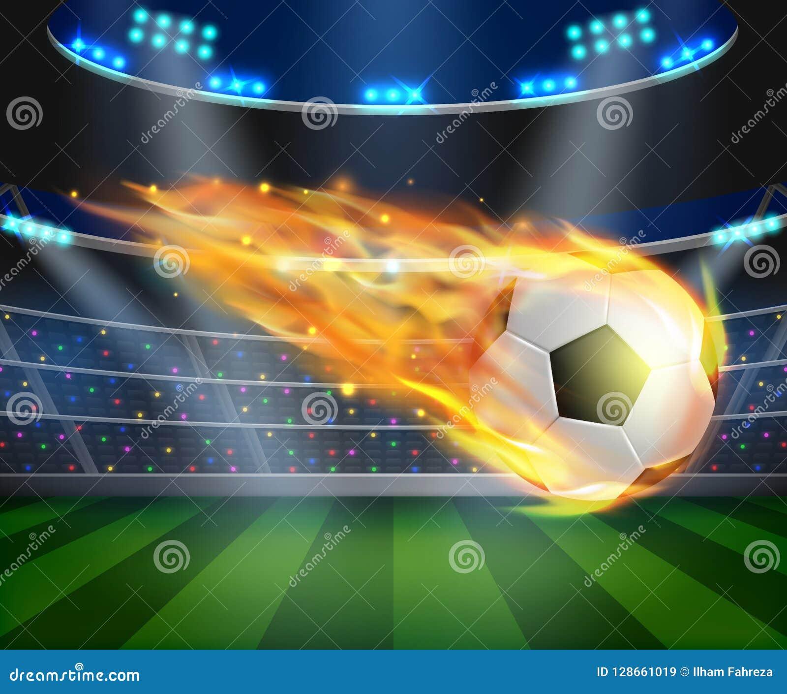 Voetbalbal met brandeffect illustratie