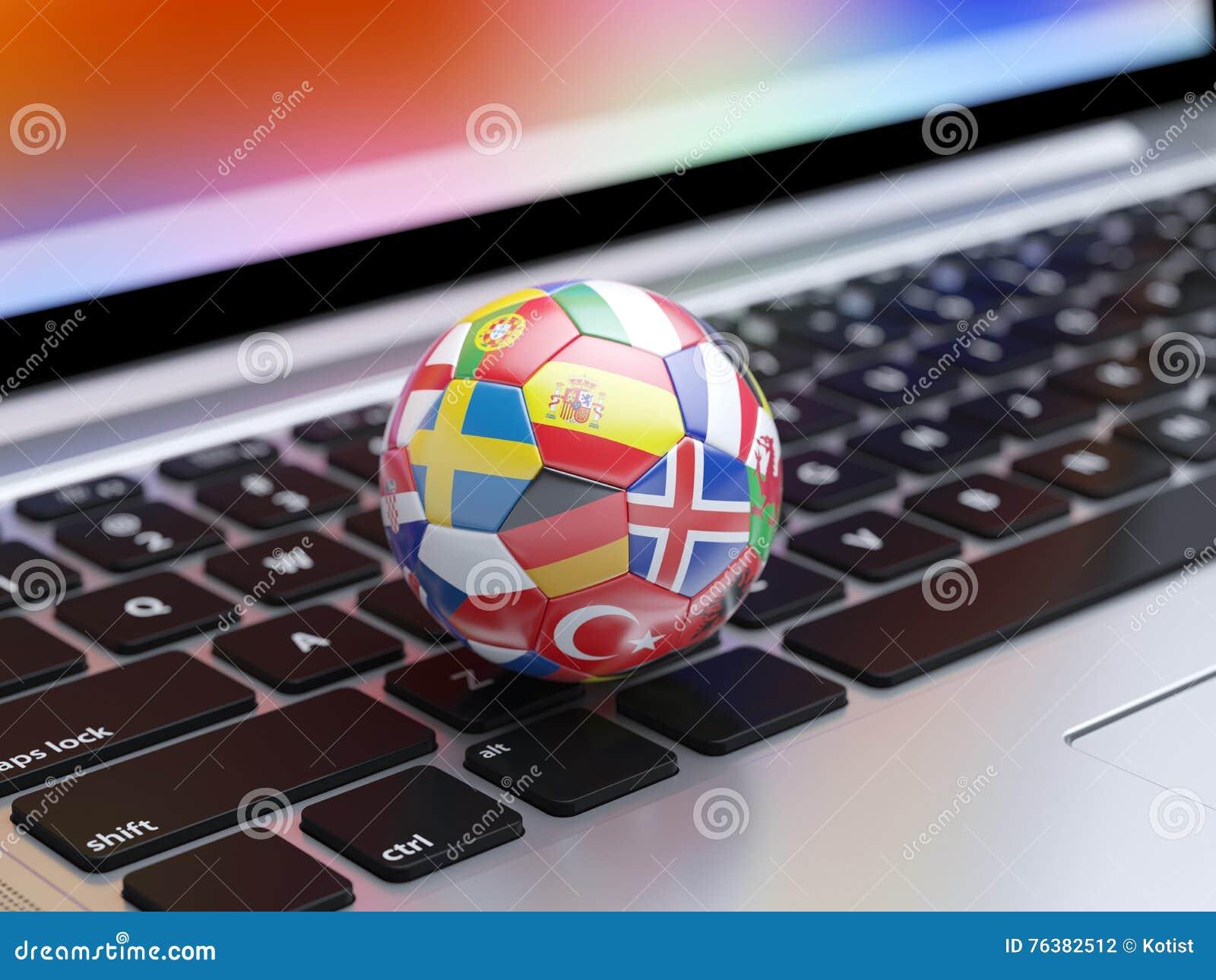 Voetbalbal met vlaggenpictogrammen van de landen van Europa