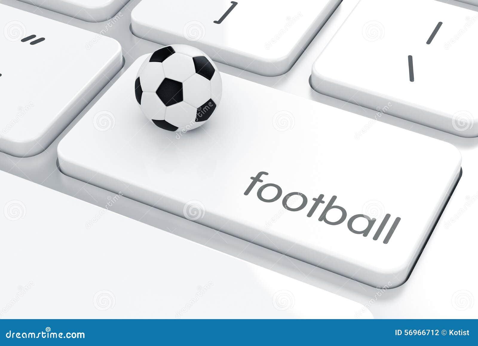 Voetbalbal op het computertoetsenbord