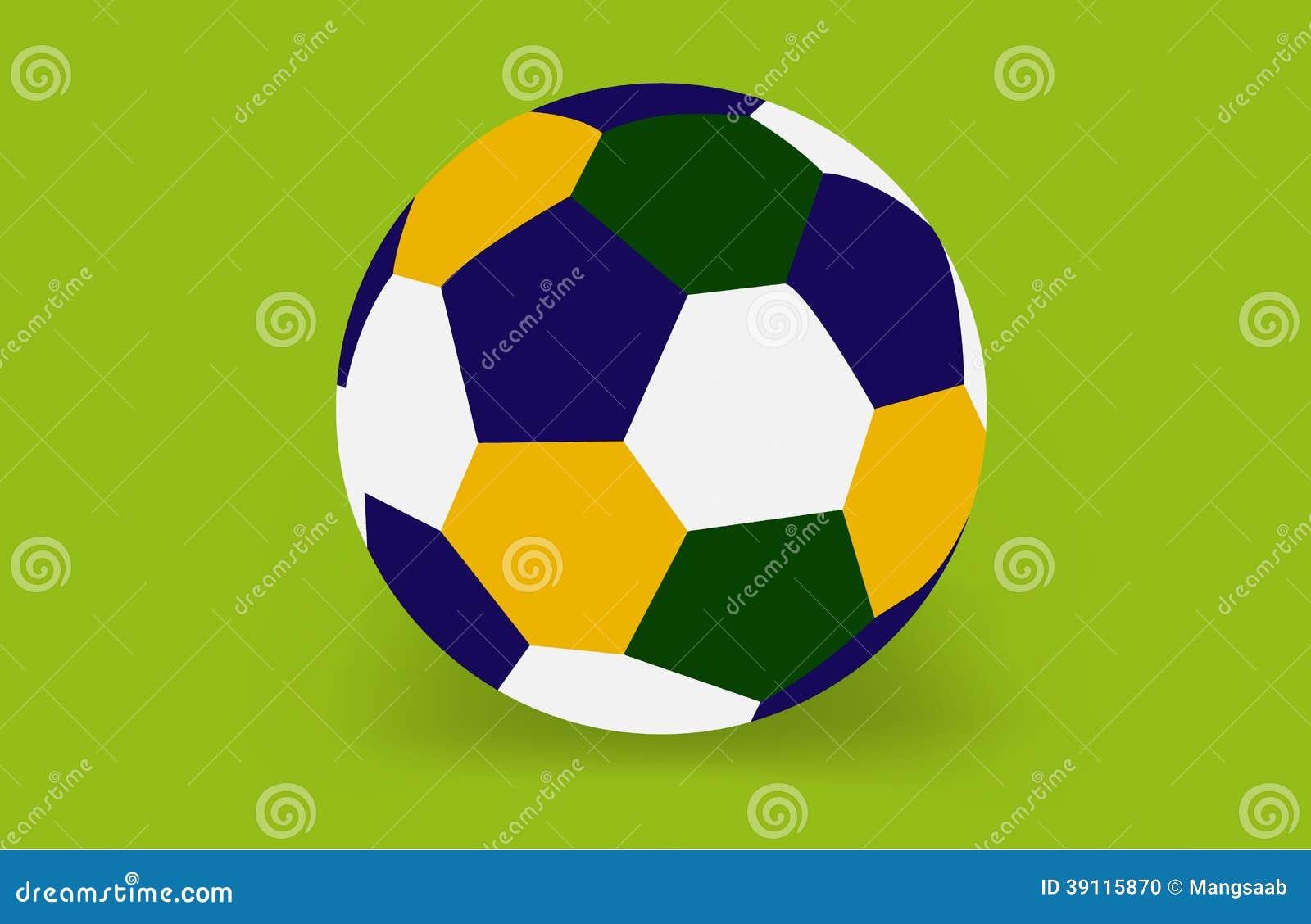 Voetbalbal van Brazilië op de groene achtergrond