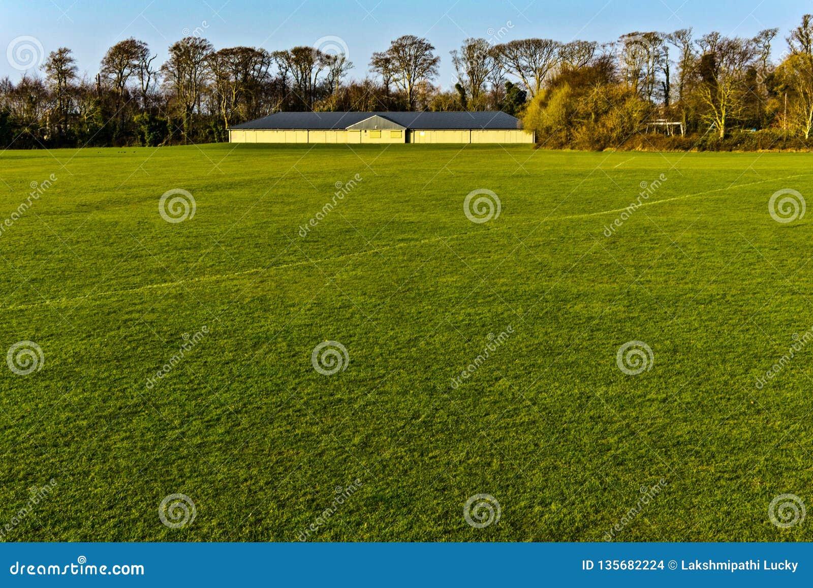 Voetbalhof met groene gras dag leeg