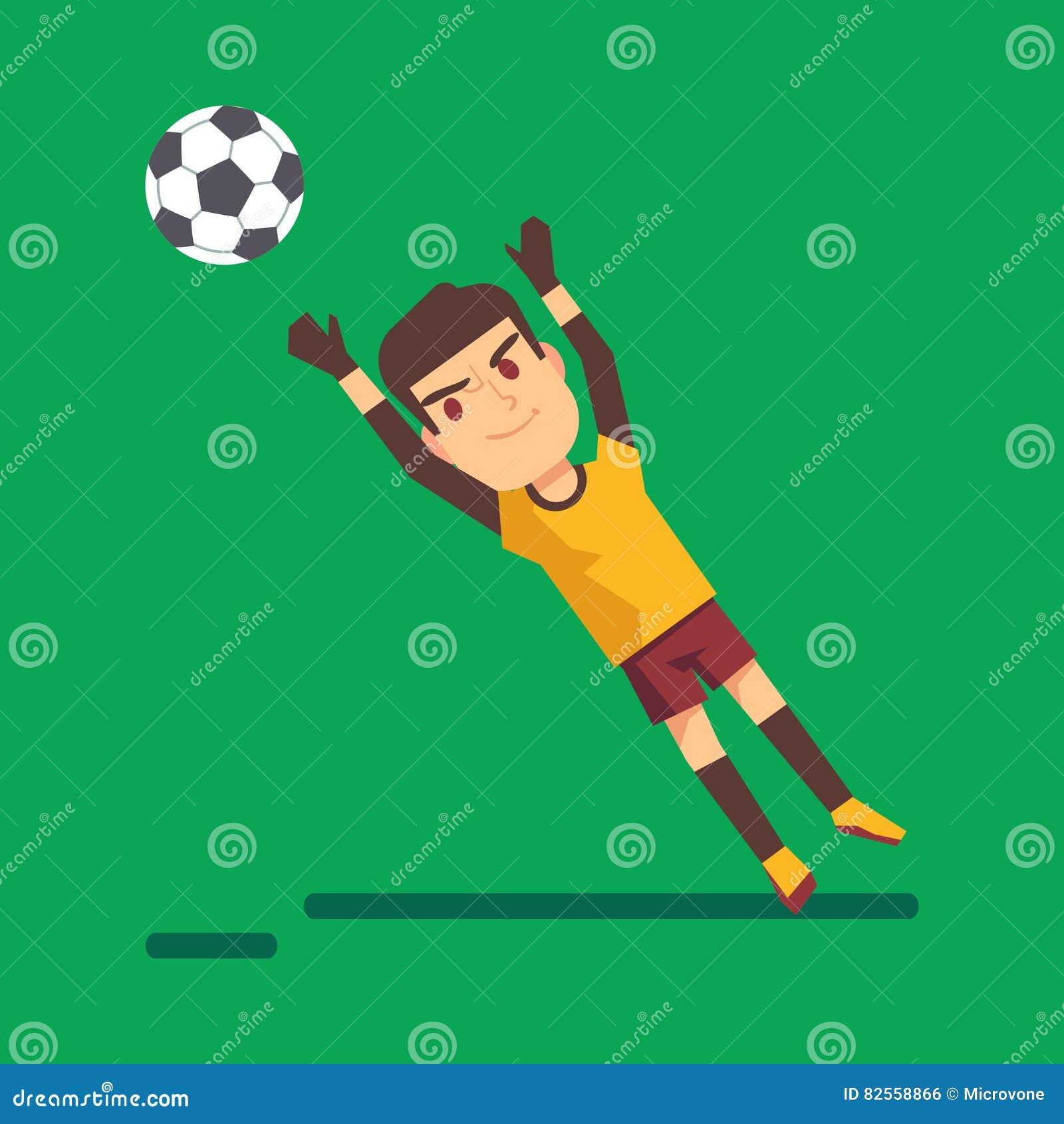 Voetbalkeeper die een balillustratie vangen vector illustratie afbeelding 82558866 - Verkoop synthetisch gras ...