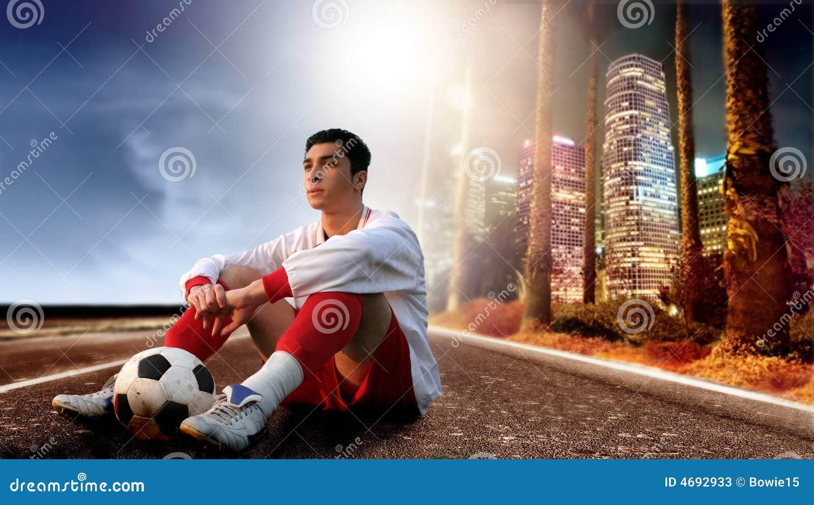 Voetballer in de stad
