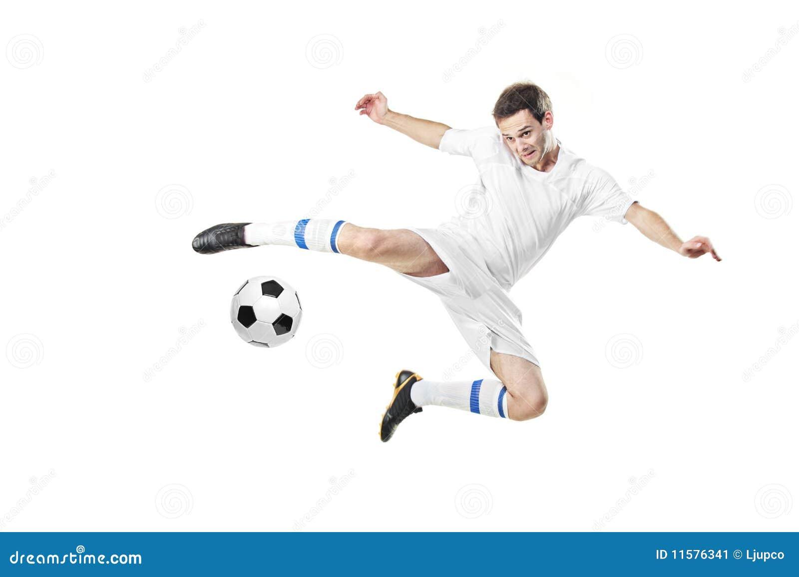 Voetballer met een bal in actie