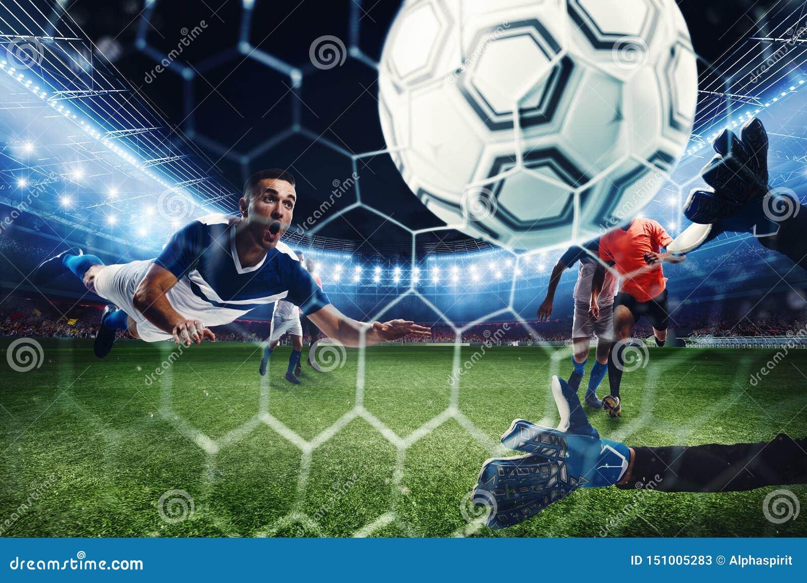 Voetbalsc?ne met concurrerende voetbalsters bij het stadion het 3d teruggeven