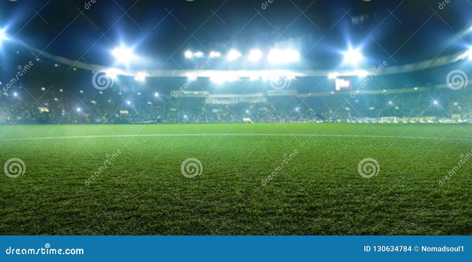 Voetbalstadion, glanzende lichten, mening van gebied