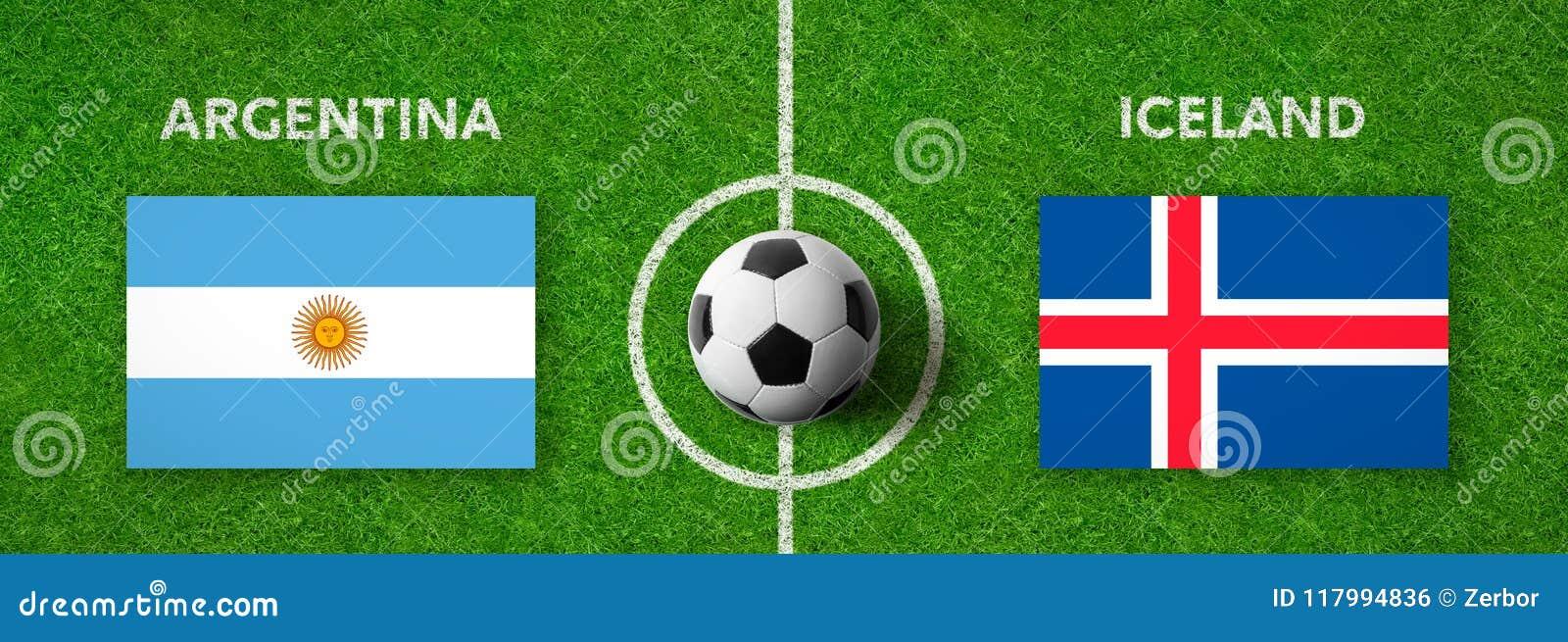 Voetbalwedstrijd Argentinië versus ijsland