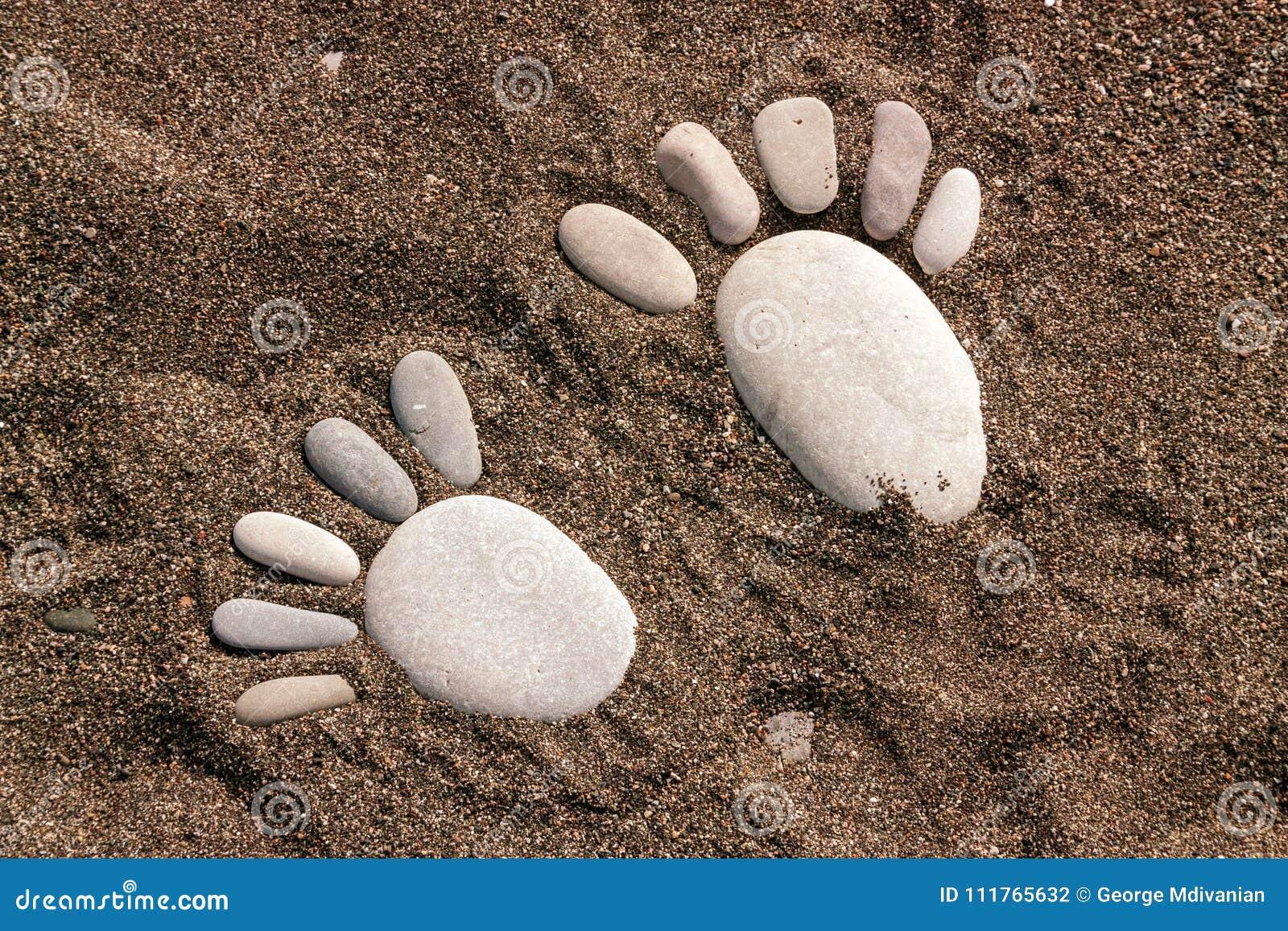 Voetstappen van de overzeese stenen