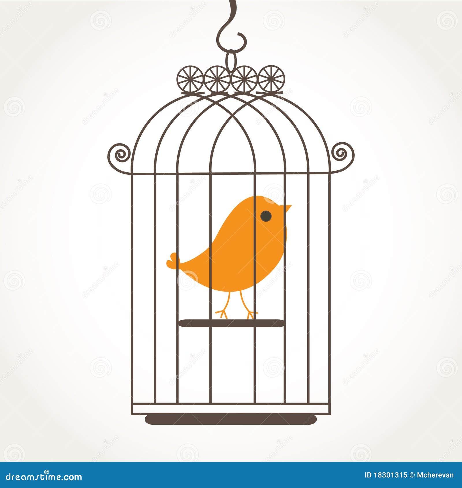 Vogel in birdcage.