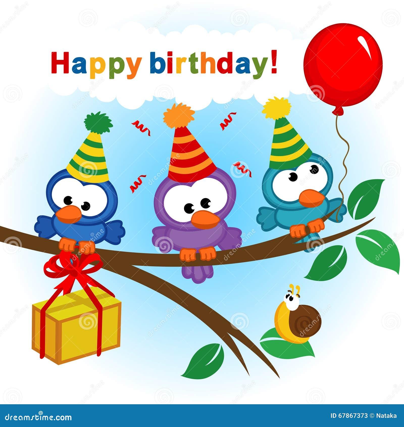 Vogel Het Vieren Verjaardag Stock Illustratie Illustratie