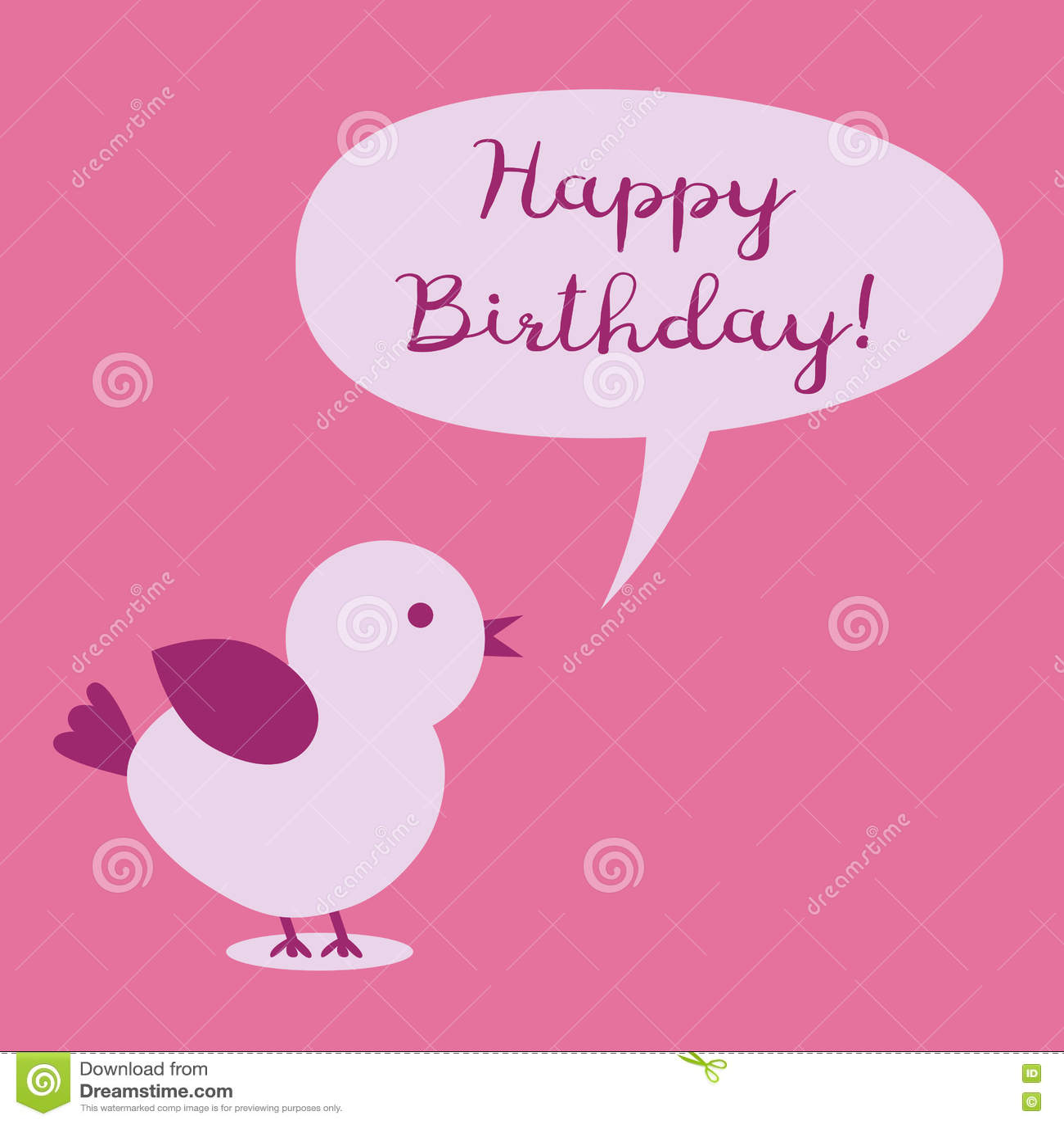 Vogel Met Een Gedachte Bel En De Tekst Gelukkige Verjaardag Vector