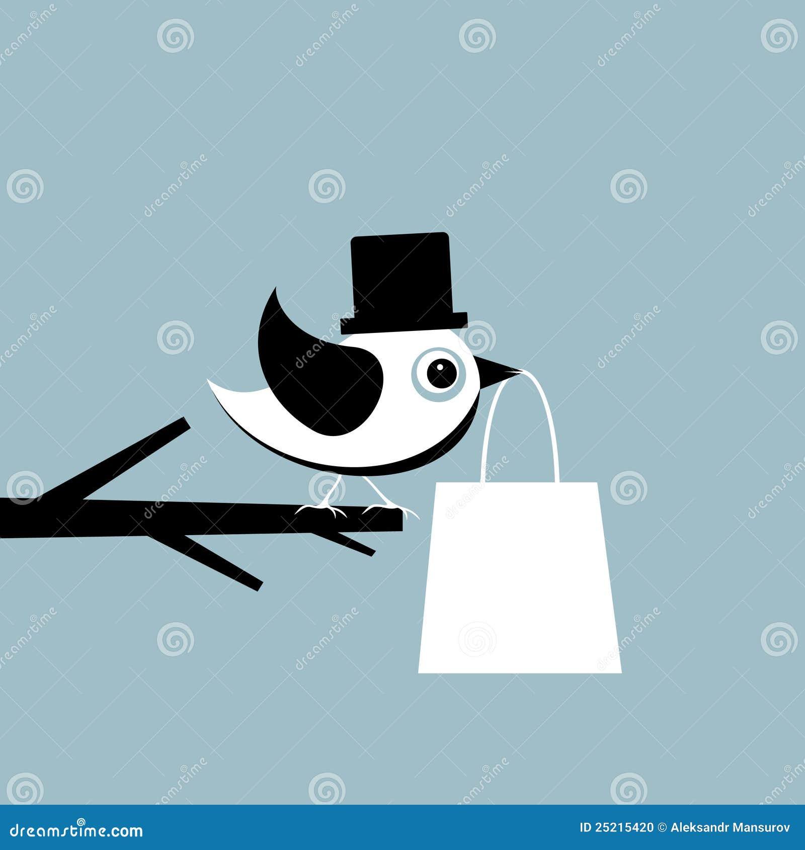 Vogel met een pakket