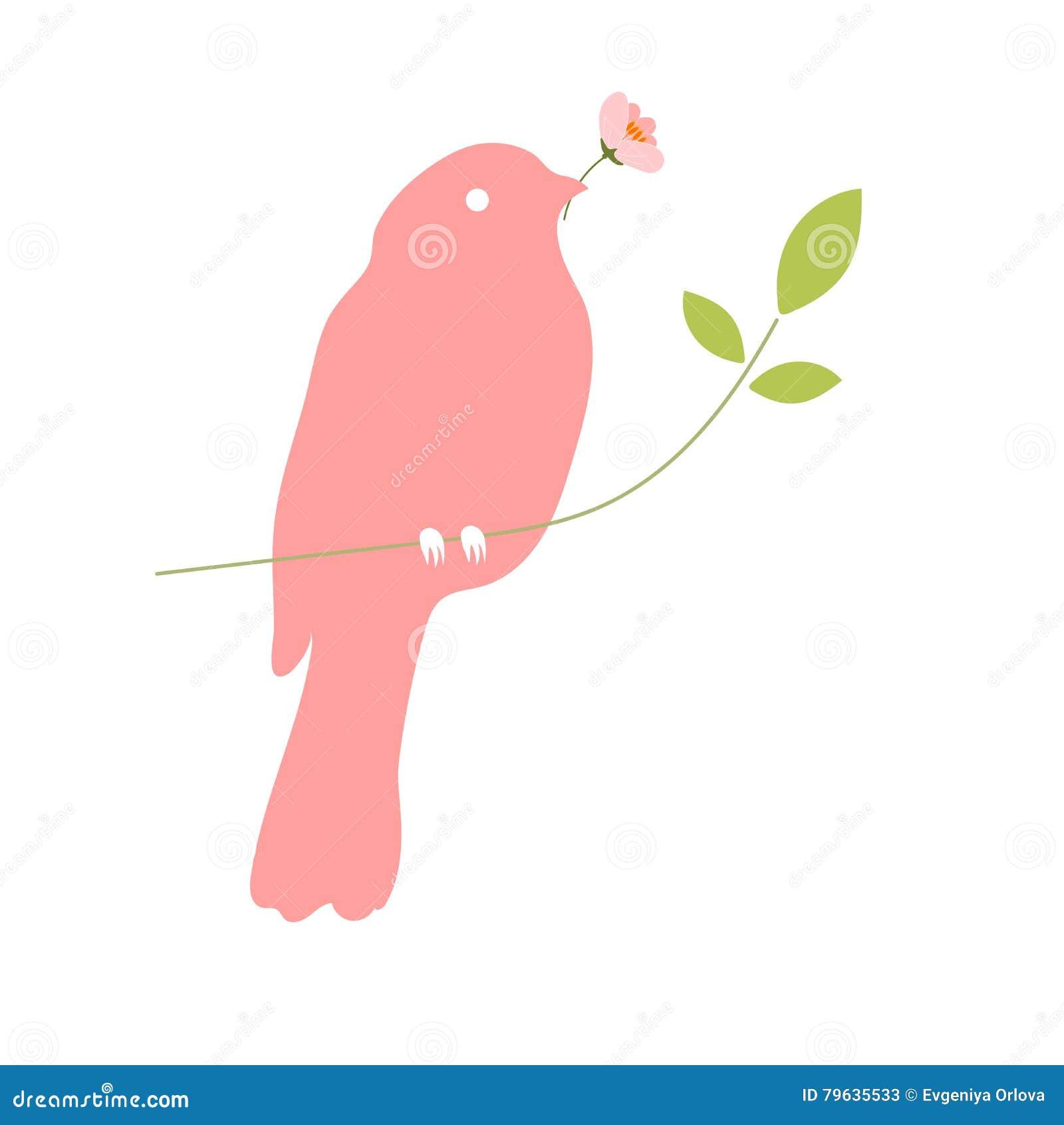 vogel mit blume im schnabel vektor abbildung