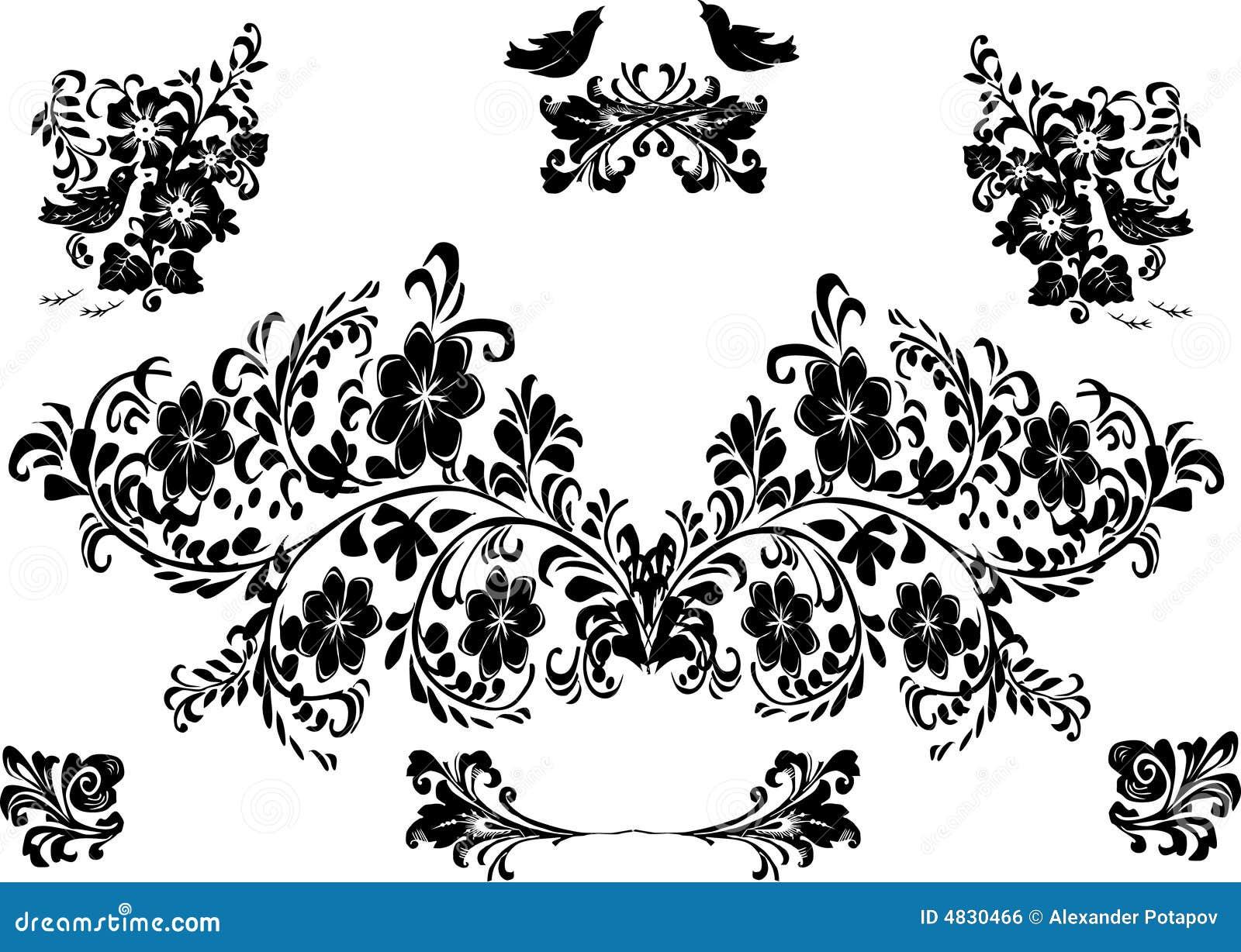 Vogel- und Blumenschattenbild