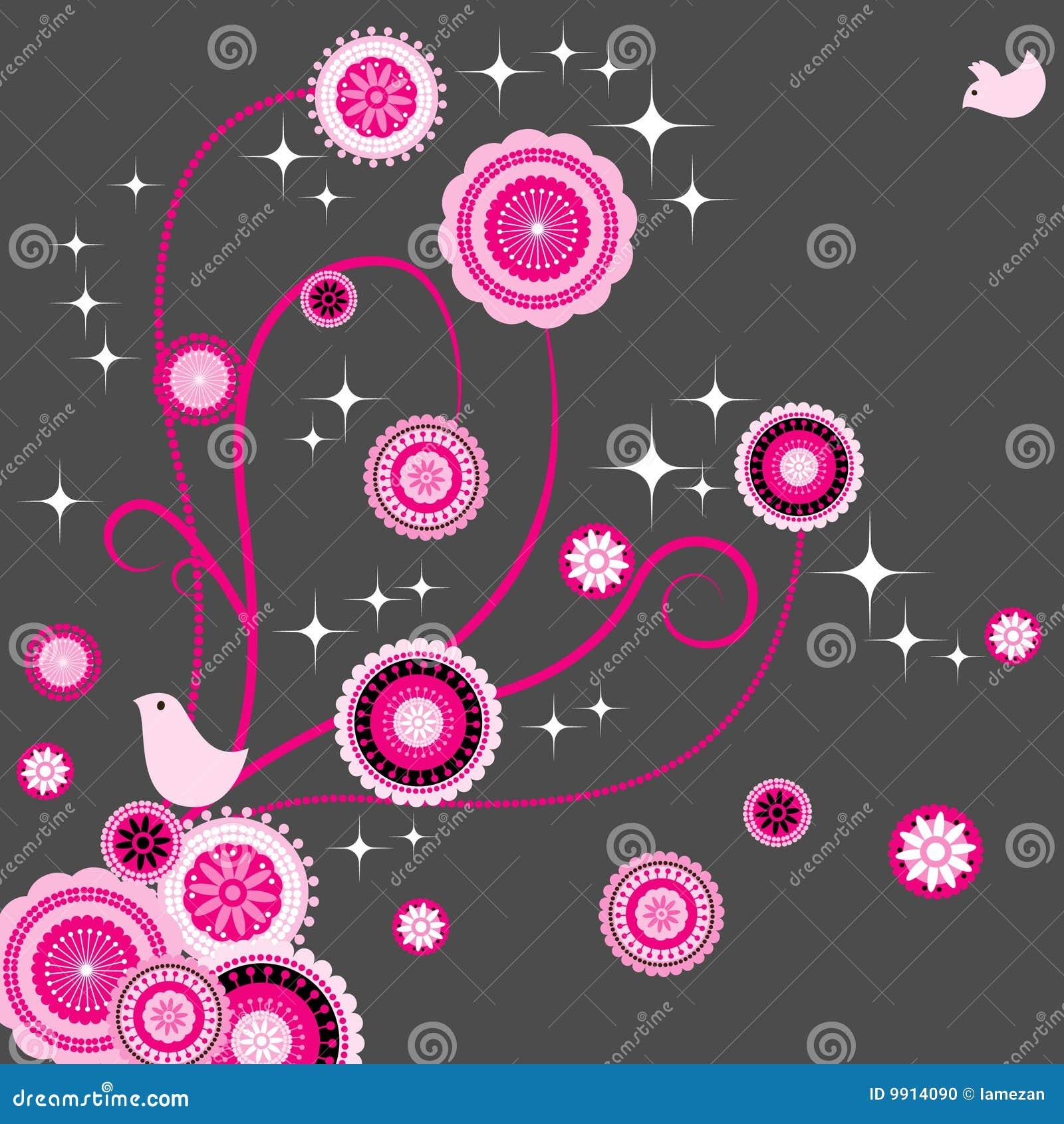 Vogelgeliebter mit nahtloser Paisley-Blume