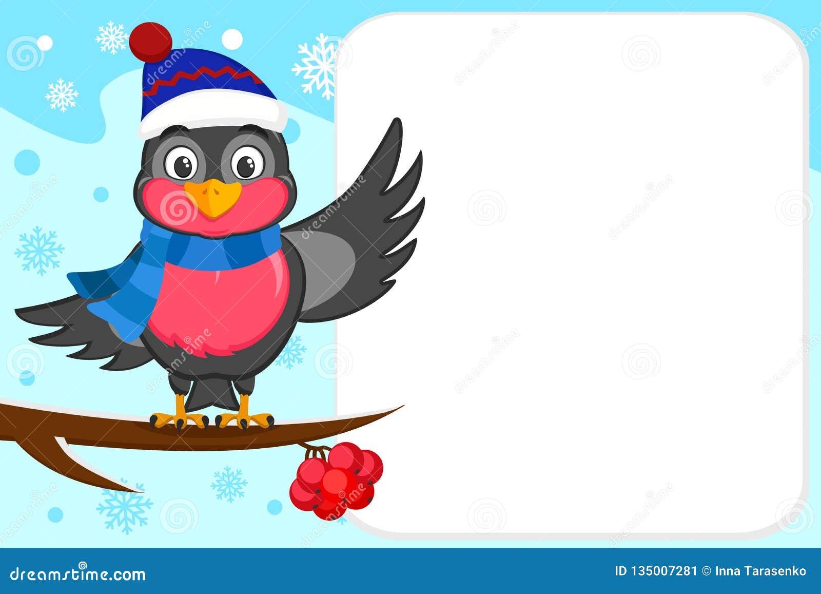 Vogelgoudvink in een hoed en sjaalzitting op een tak en het golven van zijn vleugel Plaats voor tekst