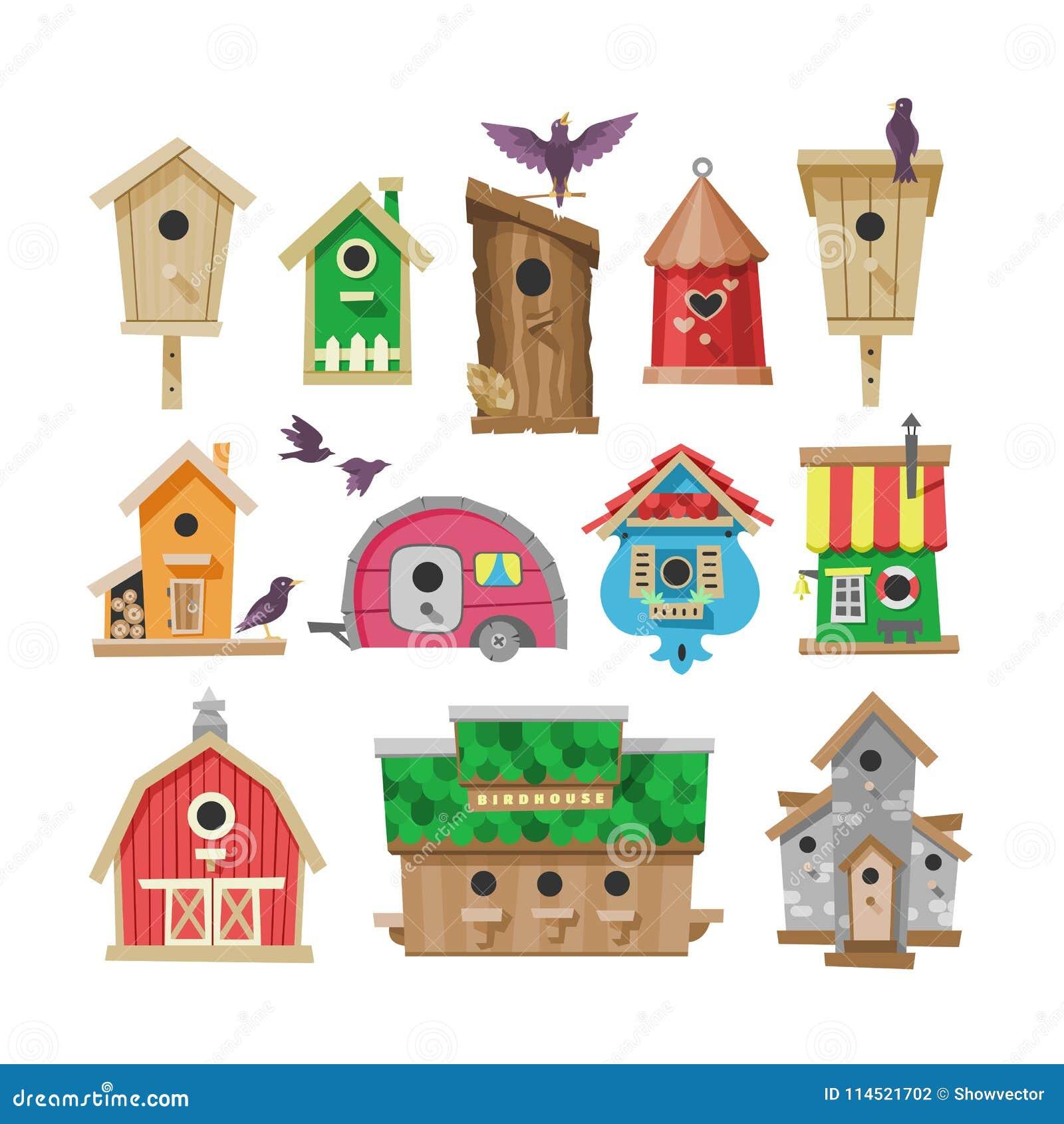 Vogelhuis vectorbeeldverhaal birdbox en de illustratiereeks van het vogeltjeblokhuis vogels die birdsongs in decoratief huis zing
