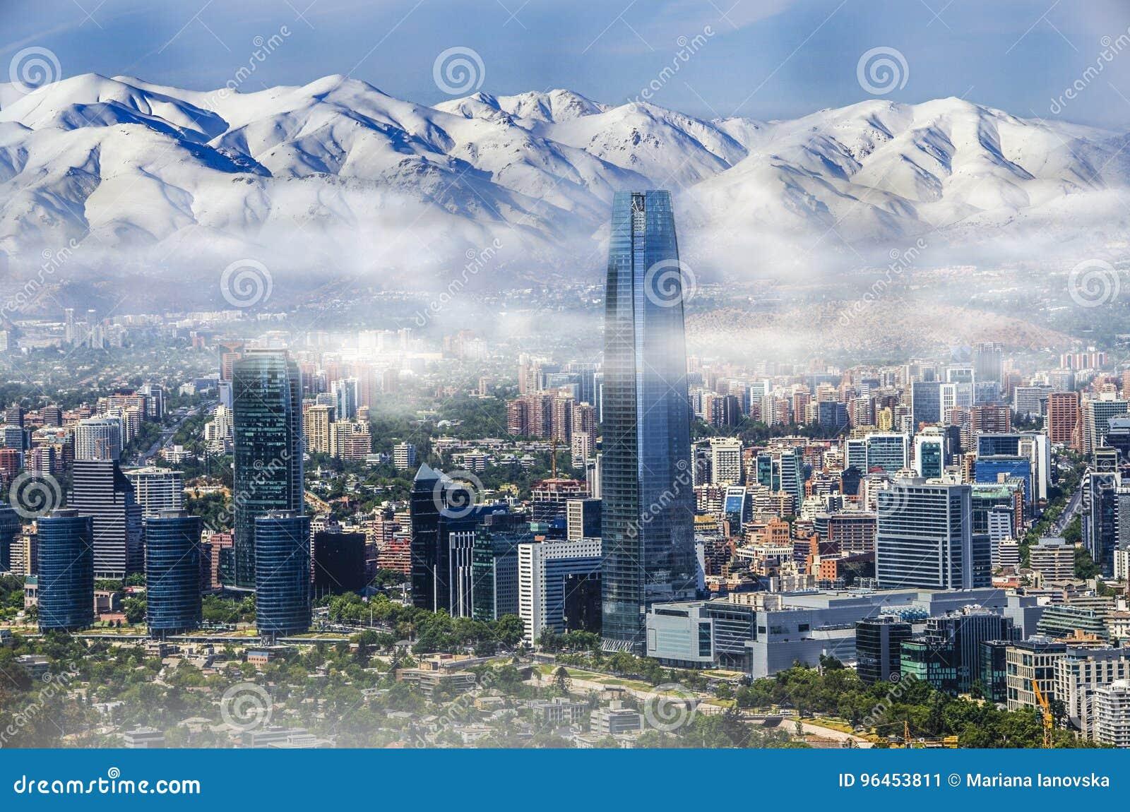 Vogelperspektive Auf Wolkenkratzern Des Finanzbezirkes Von Santiago