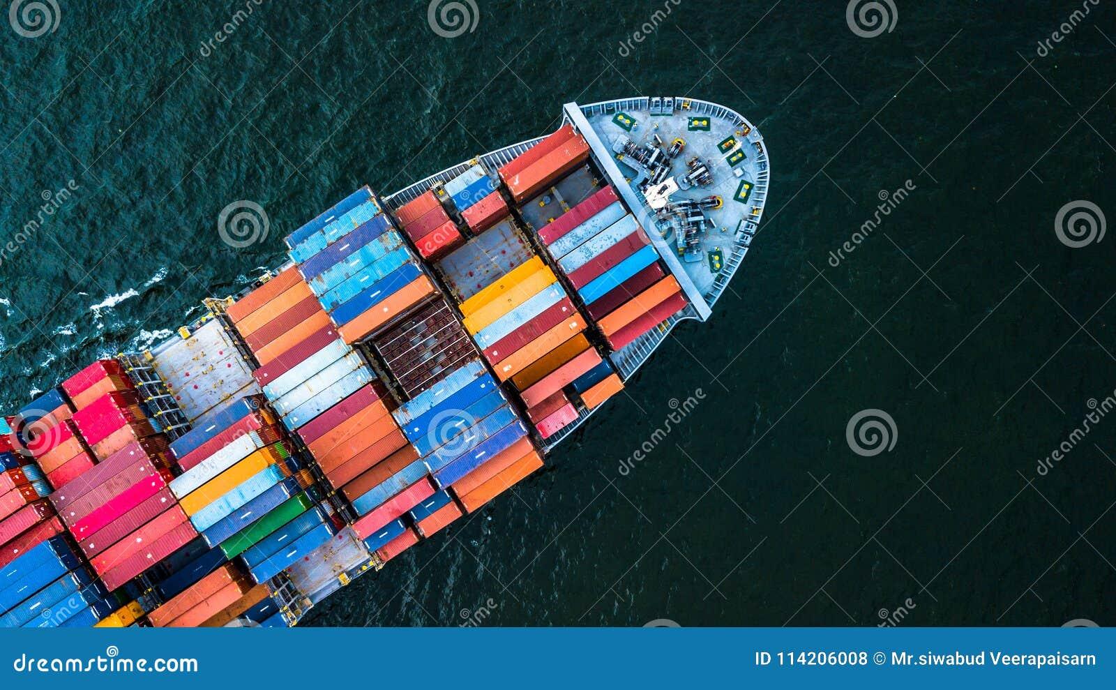 Vogelperspektive-Behälter-Frachtschiffimport und Exportgeschäft, Spitze