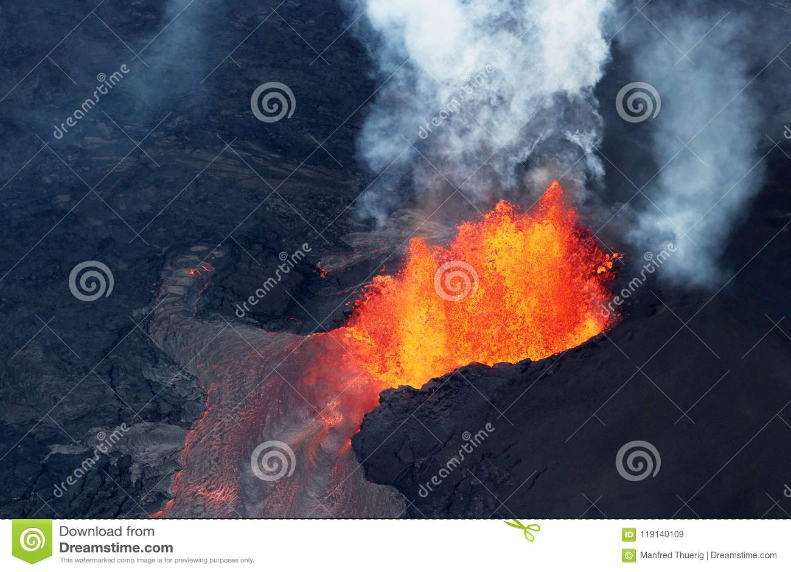 Vogelperspektive der vulkanischen Eruption des Vulkans Kilauea