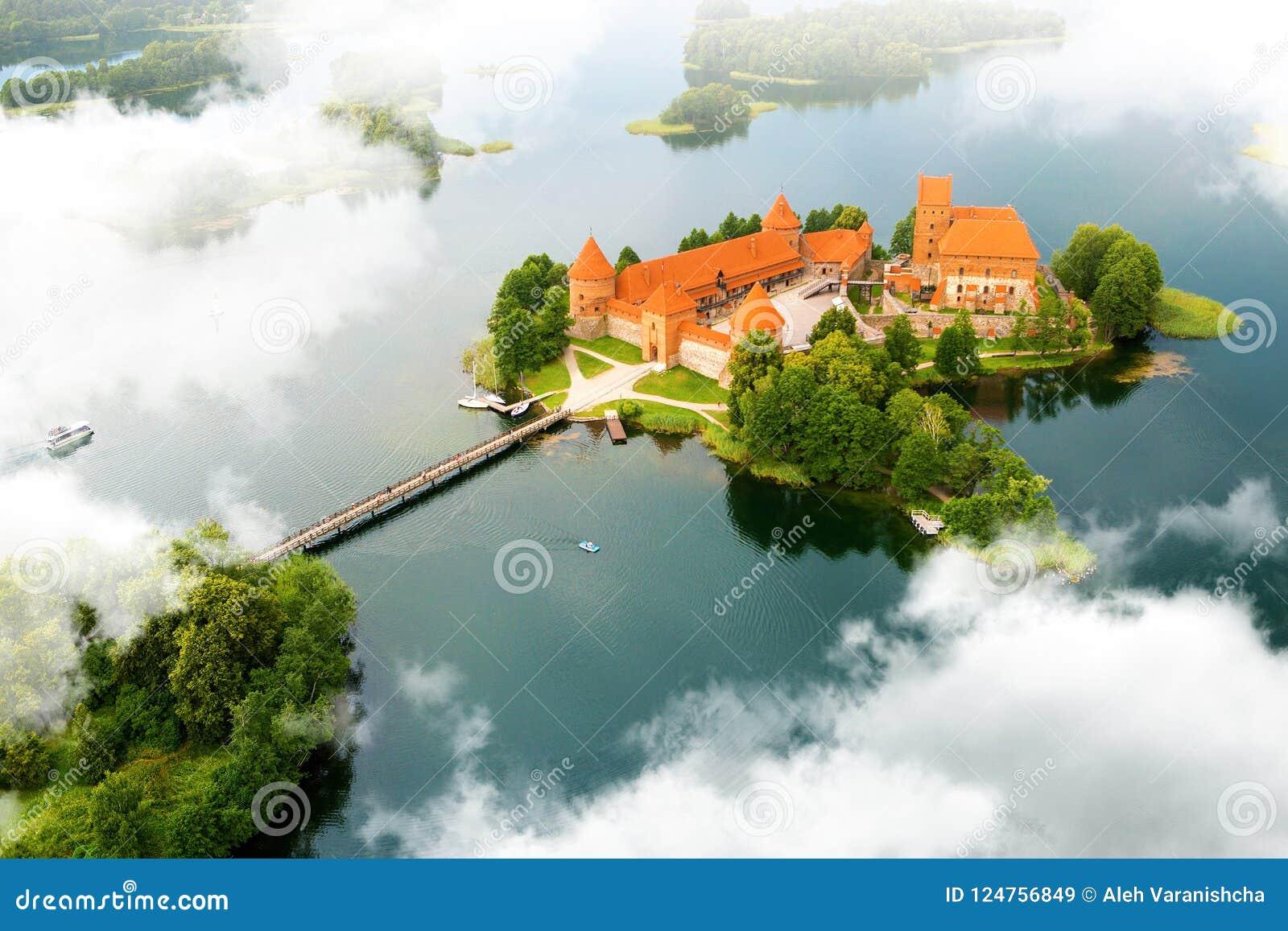 Vogelperspektive des alten Schlosses Trakai