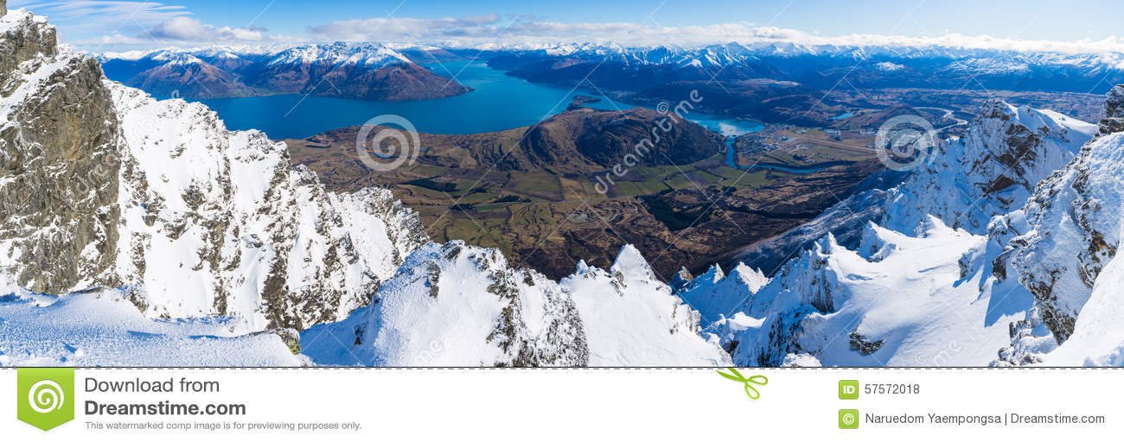 Vogelperspektive von Frankton und von See WakatipuQueenstown, Neuseeland