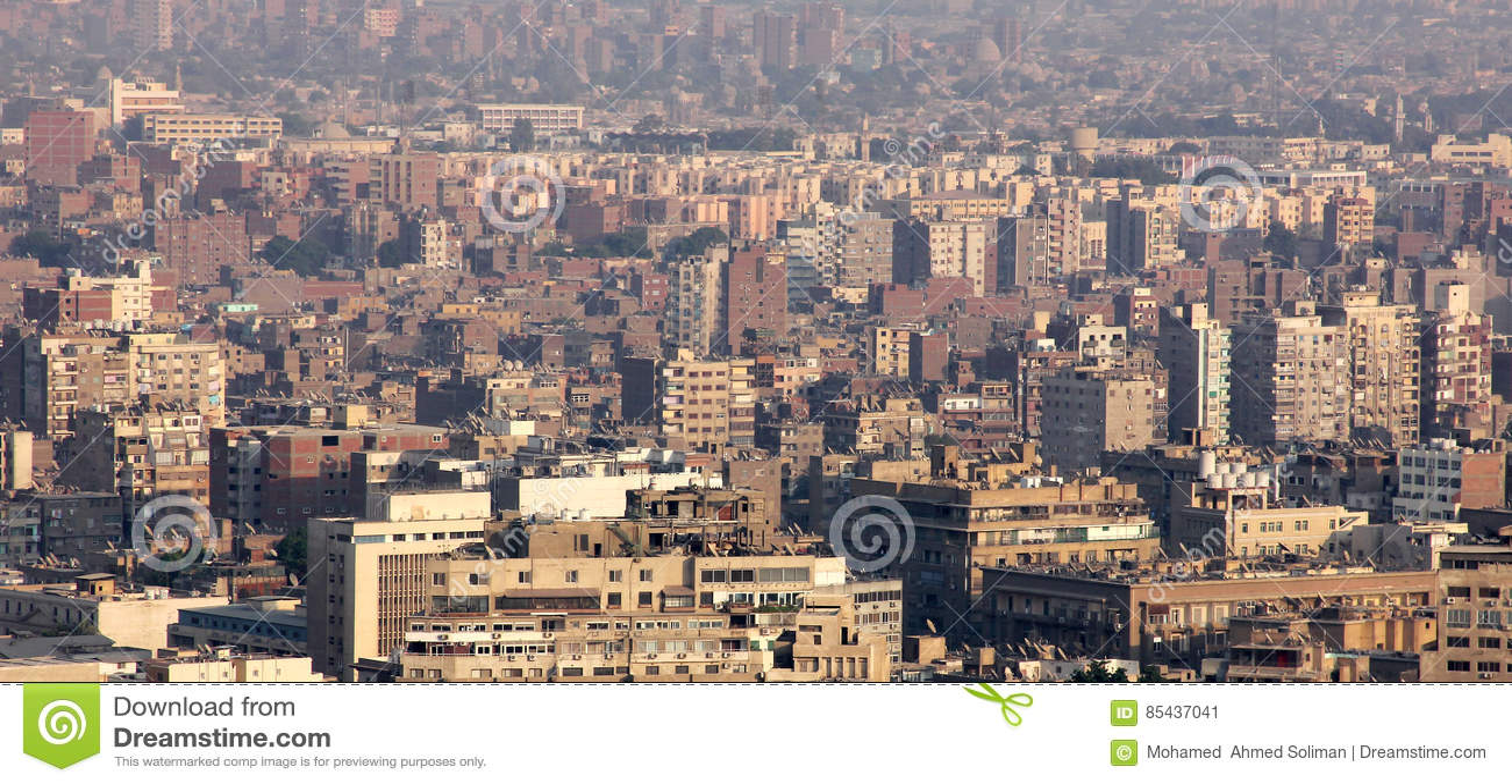 Vogelperspektive von gedrängtem Kairo in Ägypten in Afrika