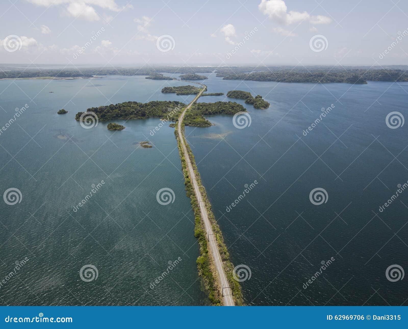 Vogelperspektive von Panamakanal