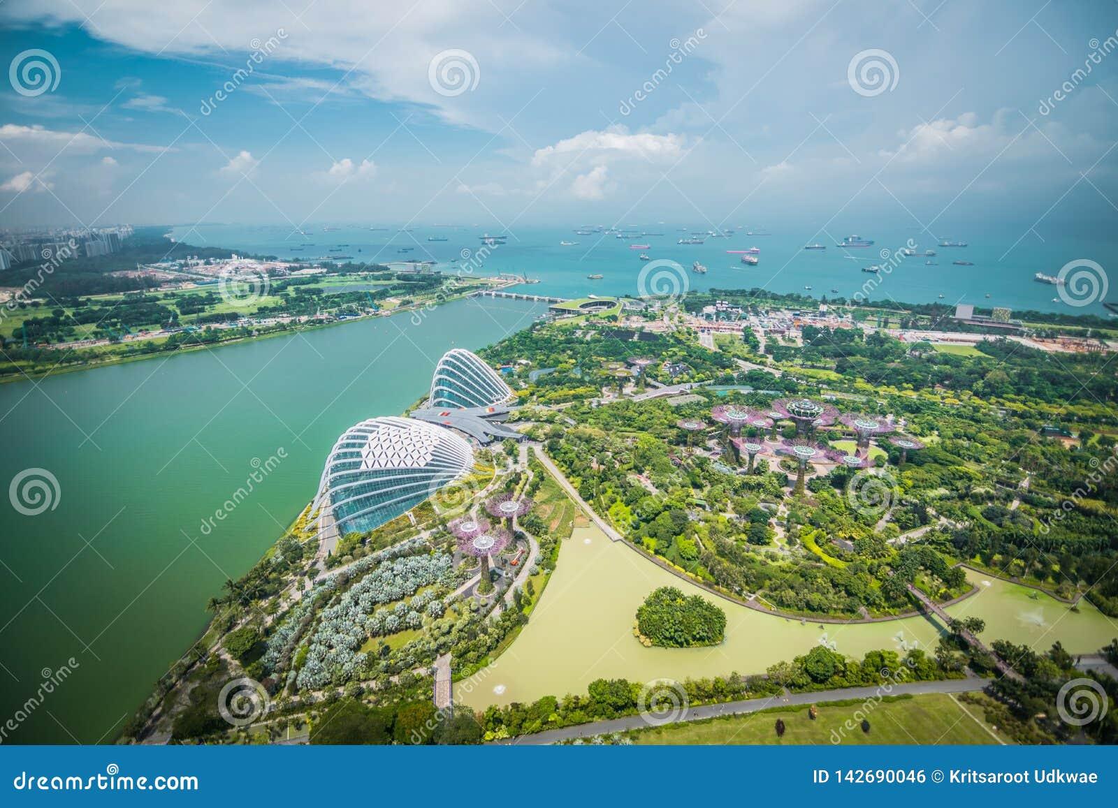 Vogelperspektive von Superbäumen an den Gärten durch die Bucht, Singapur