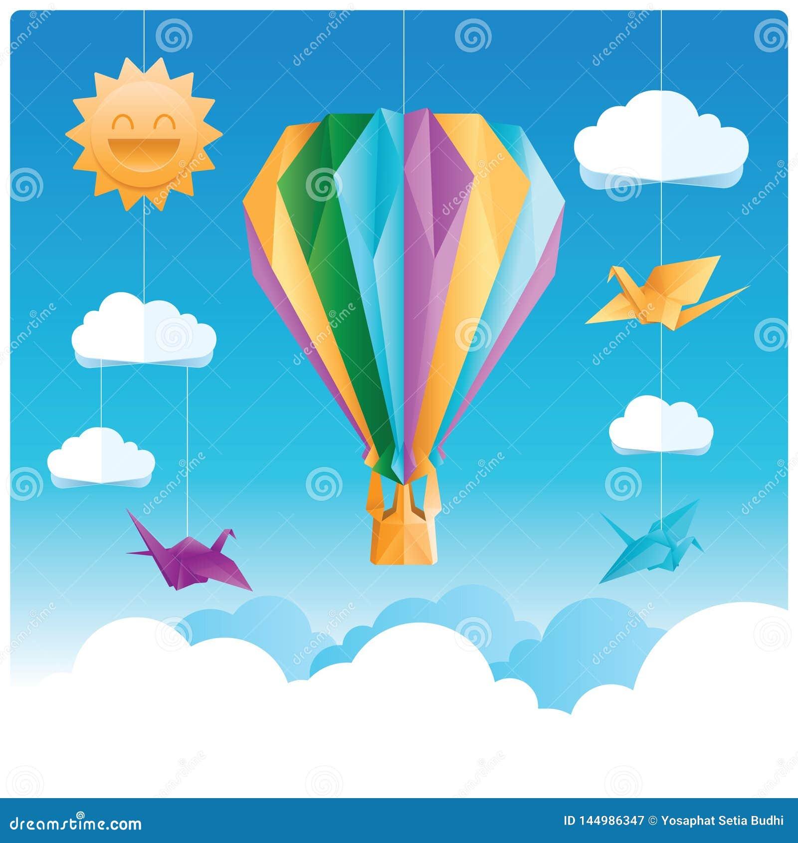 Vogels en de origami van de hete luchtballon met wolken en zon