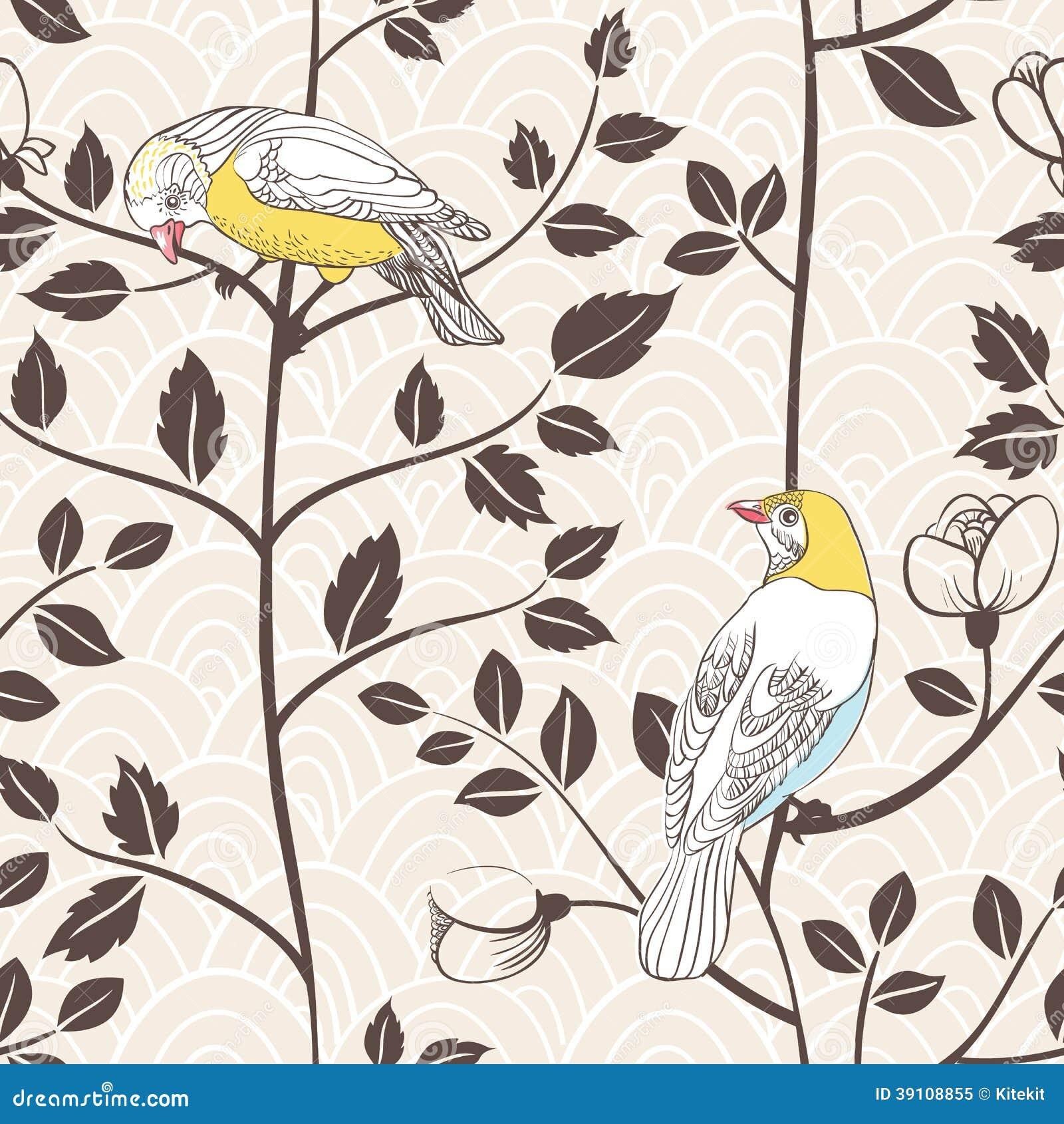 Vogels en tot bloei komende installaties. Naadloos patroon