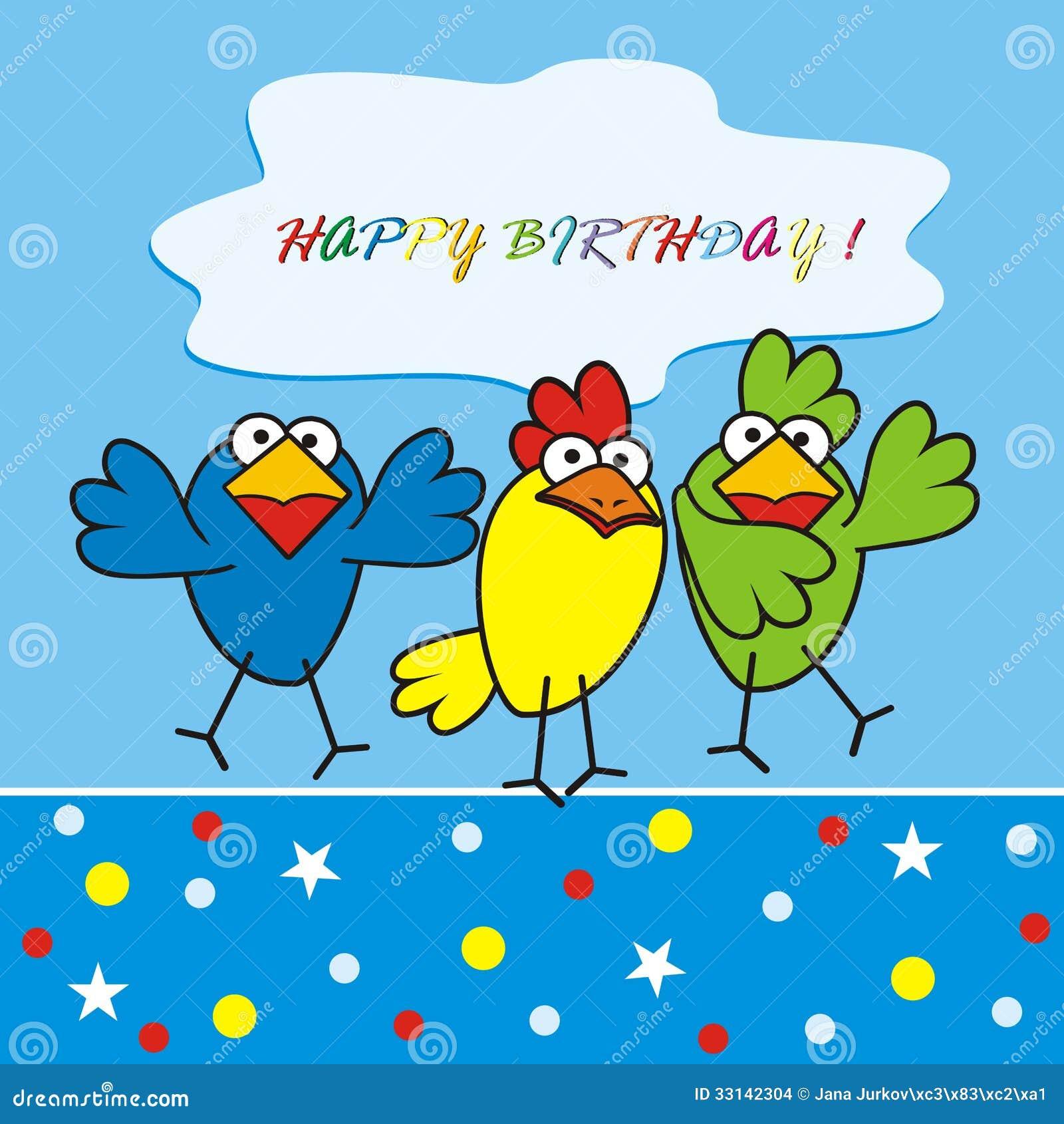 Vogels Gelukkige Verjaardag Vector Illustratie Illustratie