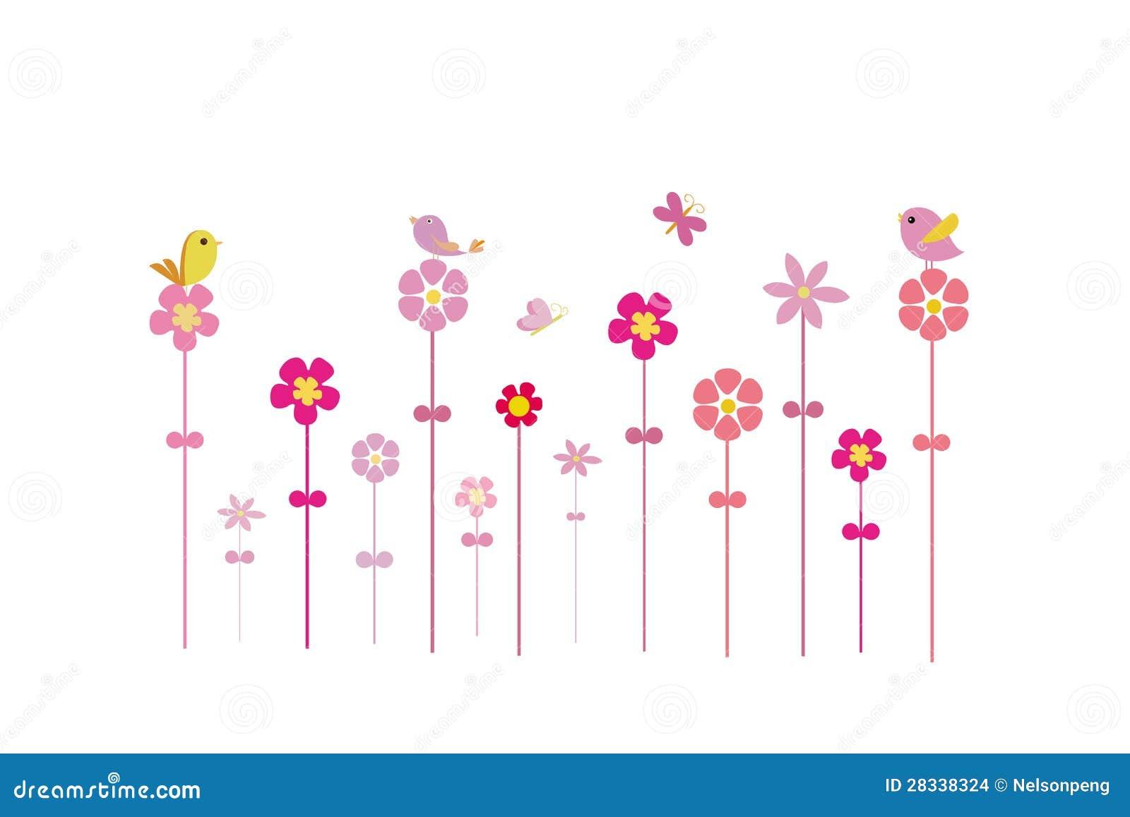 Vogels op bloemen