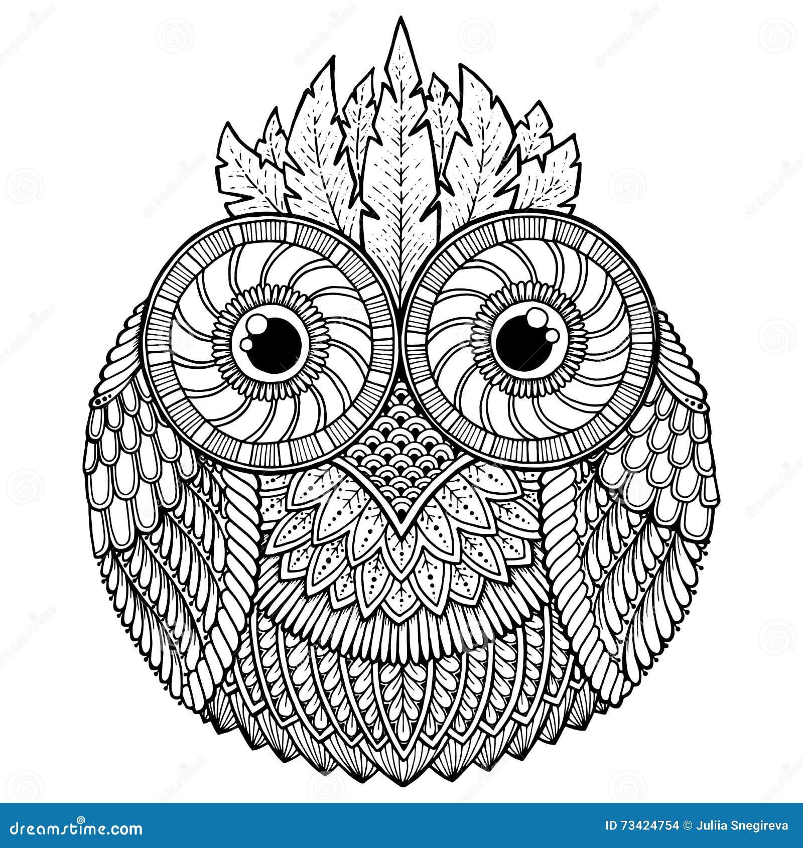 Kleurplaat 23 Jaar Verjaardag Vogelsthema Uil Zwart Witte Mandala Met Abstract Etnisch