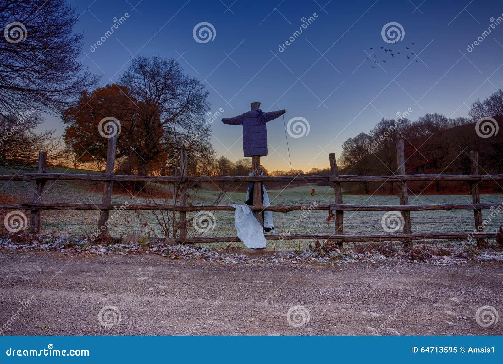 Vogelverschrikker op een Omheining
