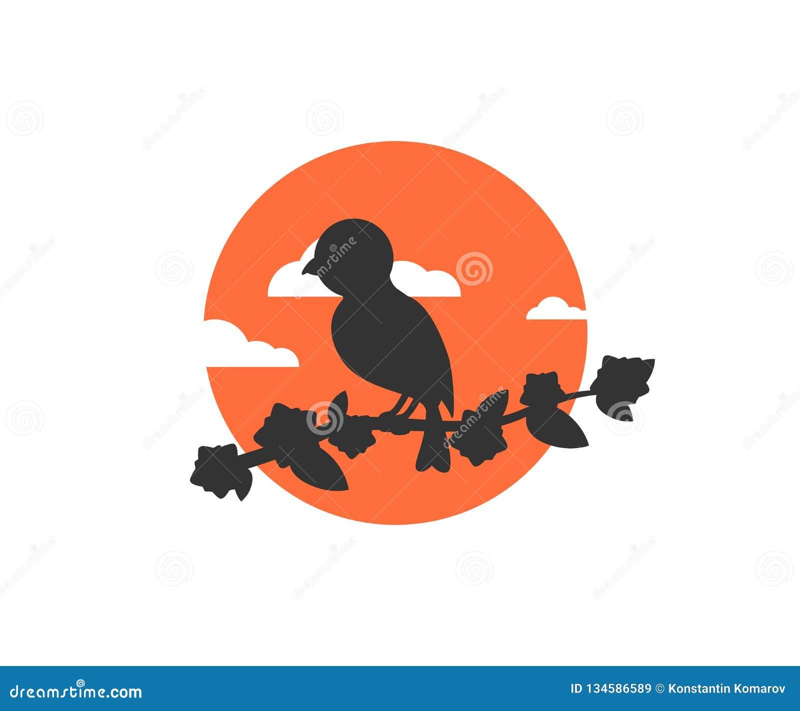 Vogelzitting op een boomtak op een vector zonsondergang van het achtergrond mooie pictogramembleem