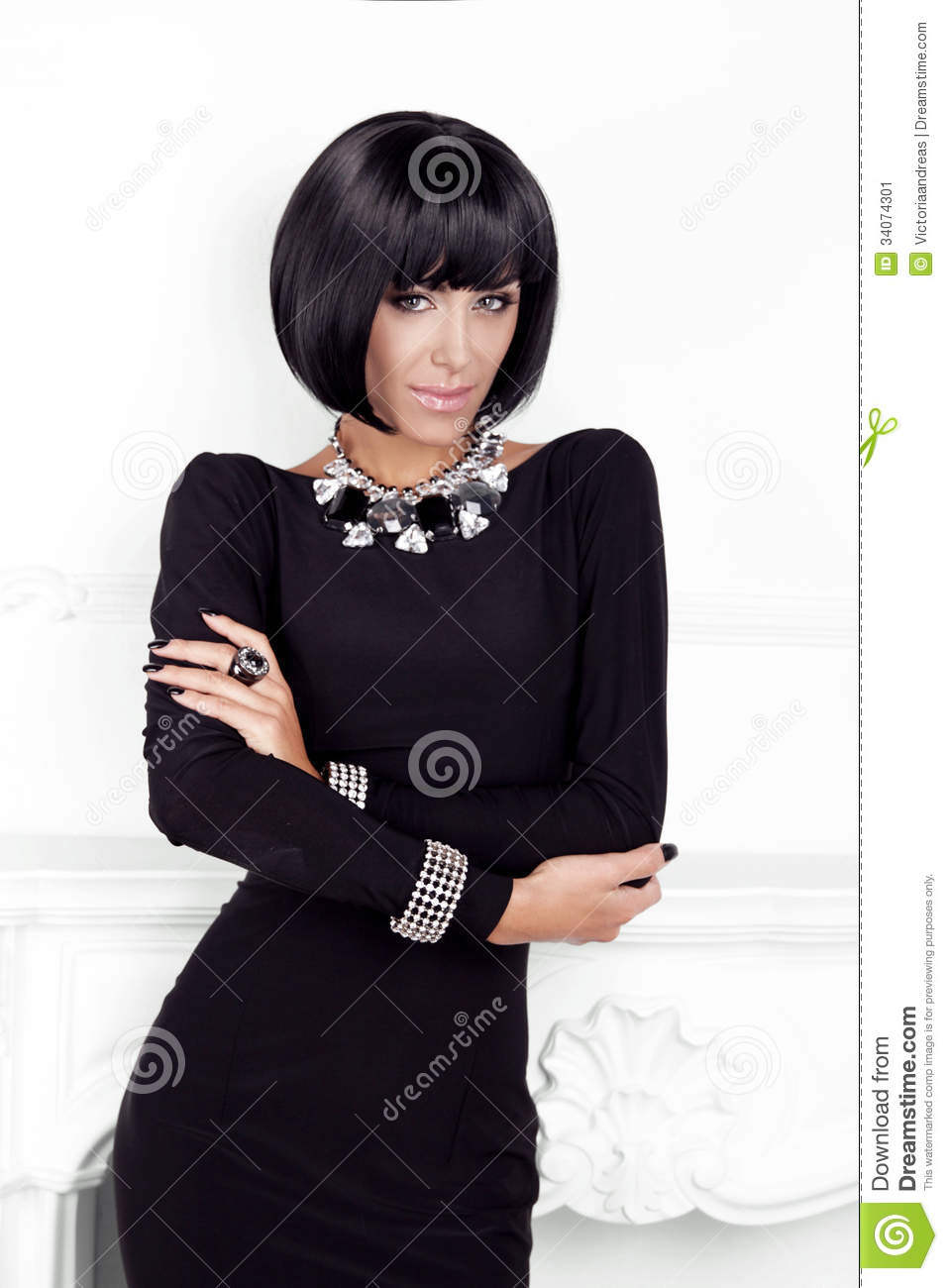 Vogue Style Fashion Beauty Woman In Black Dress Stock Image Image 34074301