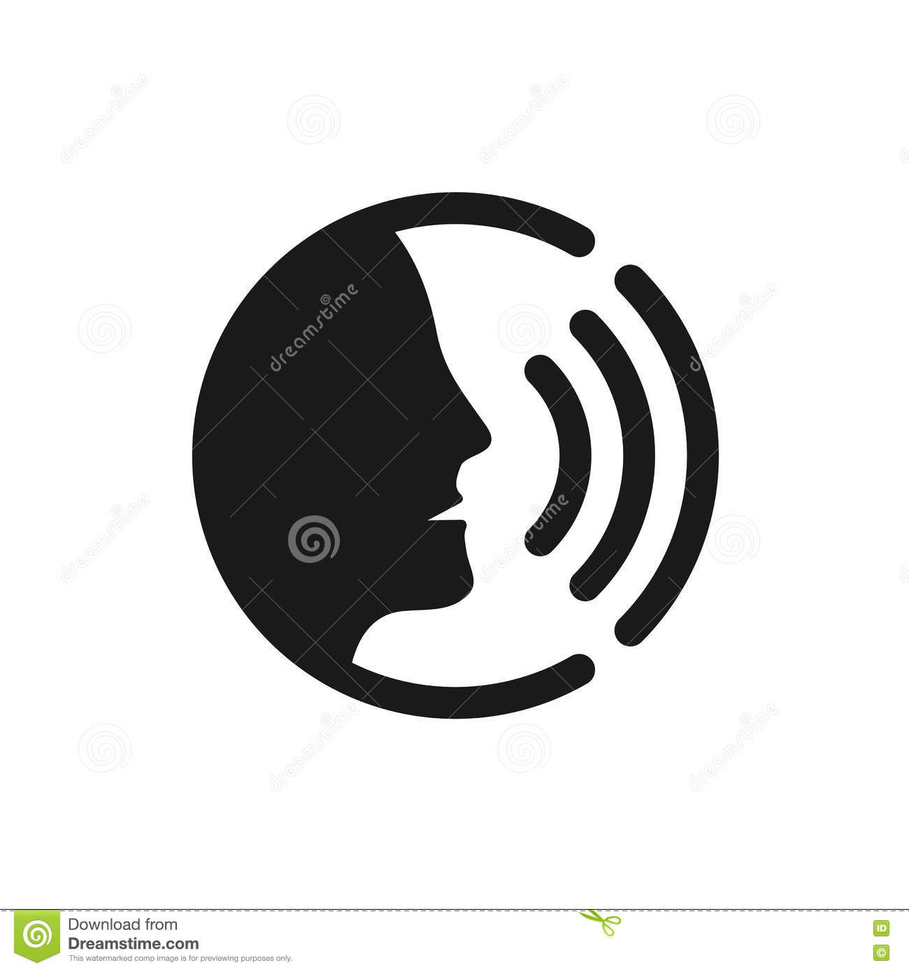 Voice Command Control With Sound Waves Icon Stock Vector