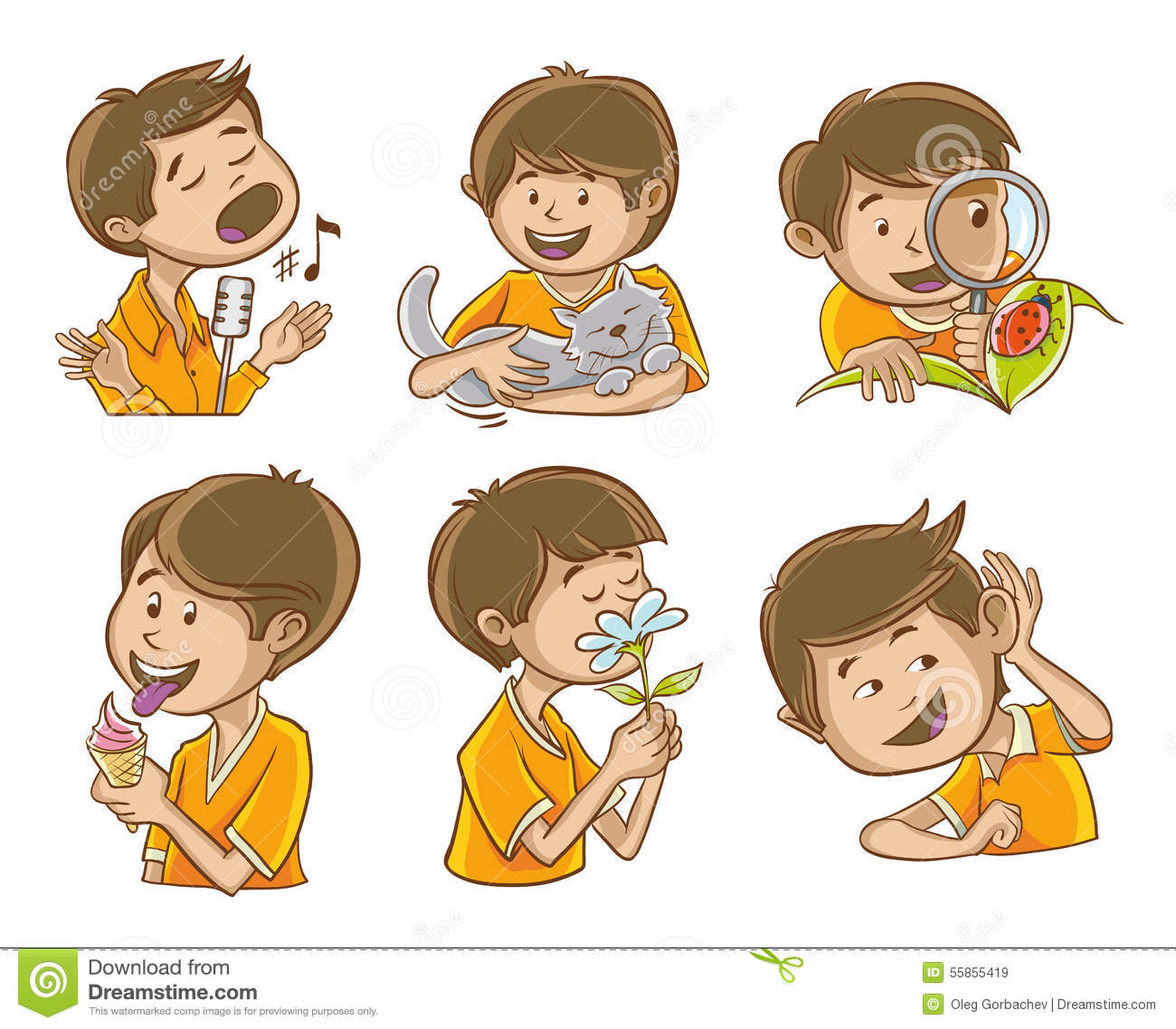 Happy man illustrates the five senses of man. And additional images of ...