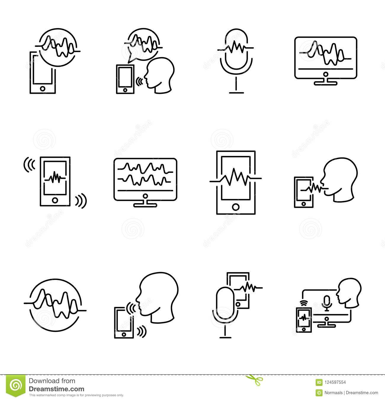 Voice recognition vector illustration collection set. Technology of digital communication and talking. Signature and smart ID.
